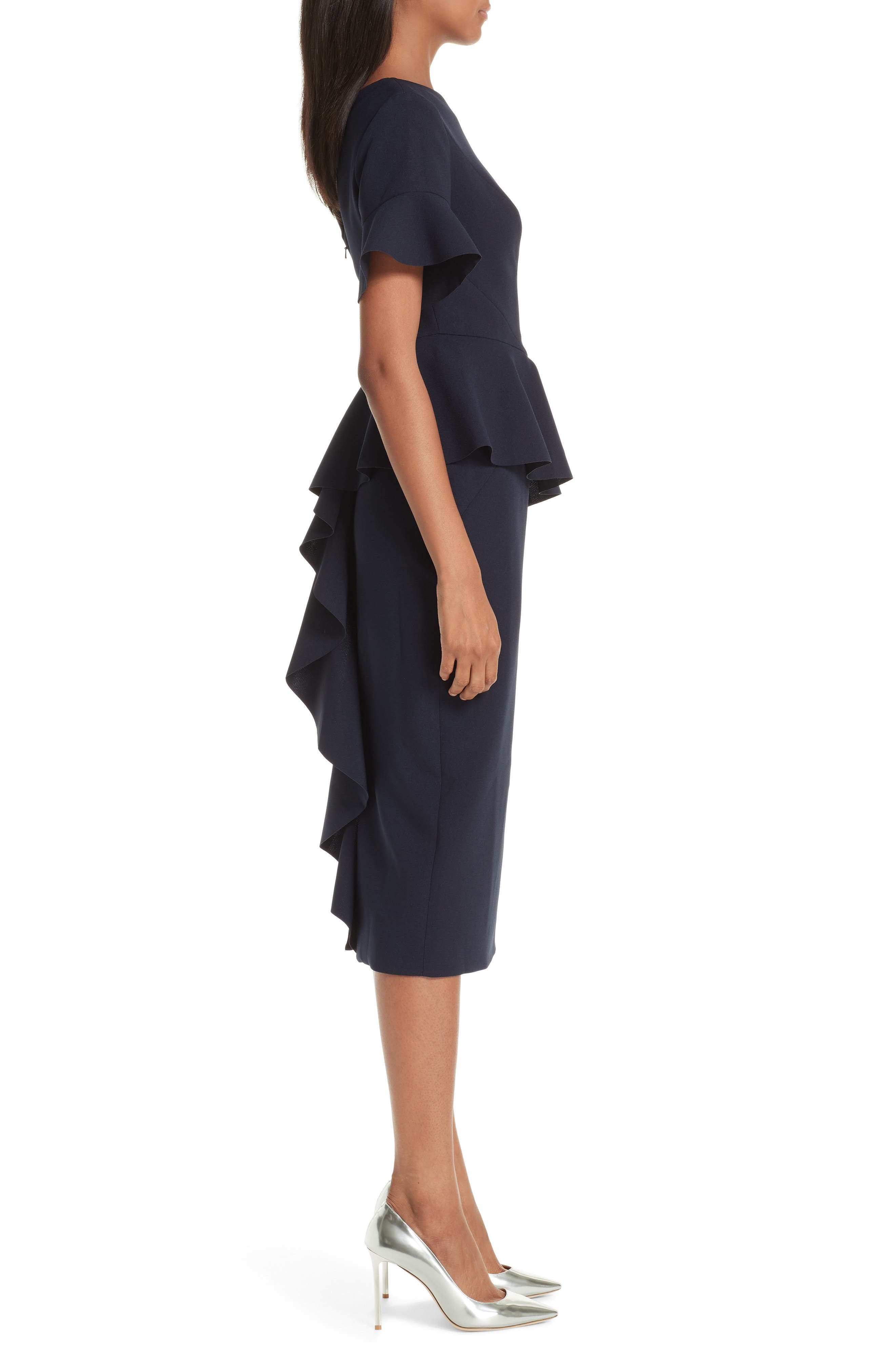 RACHEL GILBERT,                             Farah Peplum Dress,                             Alternate thumbnail 3, color,                             495
