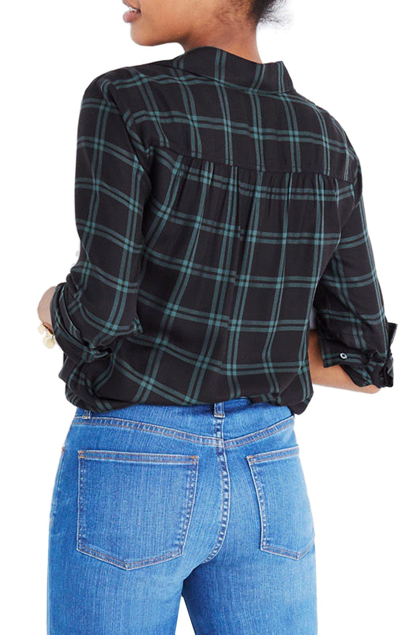 Plaid Faux Wrap Shirt,                             Alternate thumbnail 2, color,                             OLD VINE