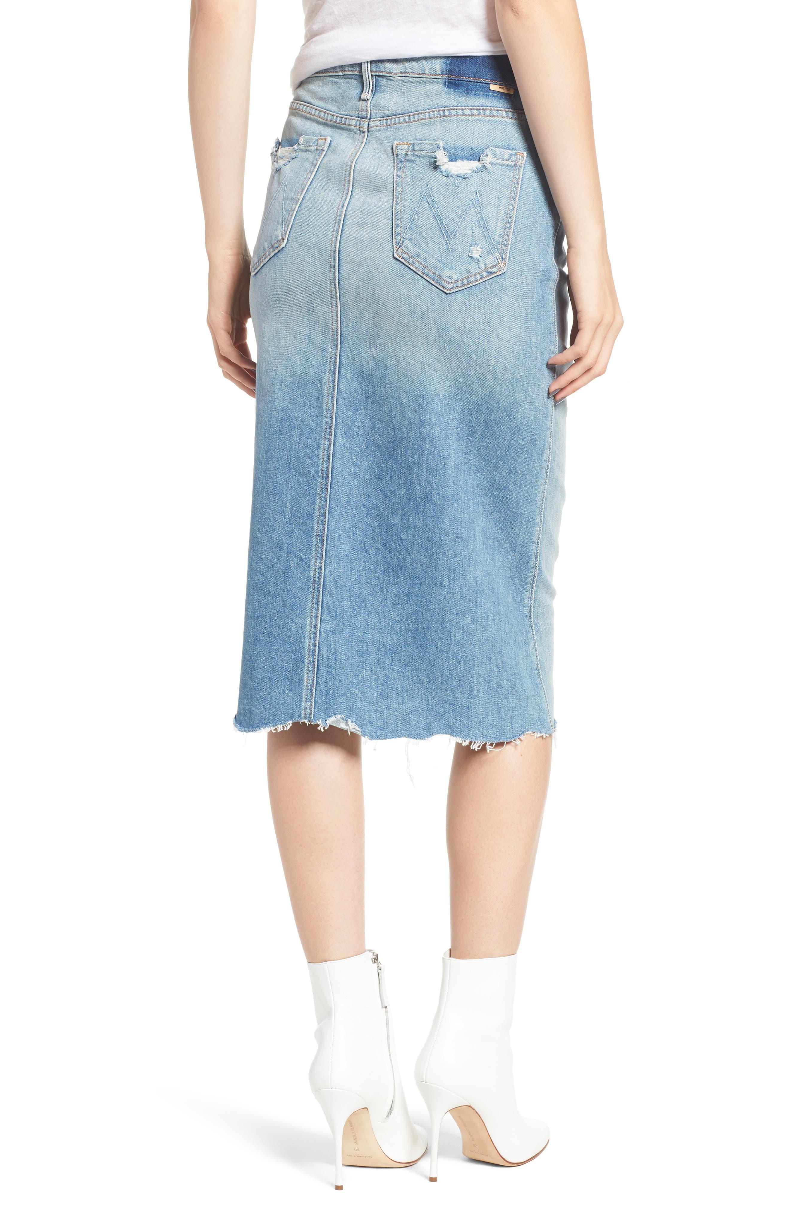 Swooner Straight-A Chewed Hem Denim Skirt,                             Alternate thumbnail 2, color,                             450