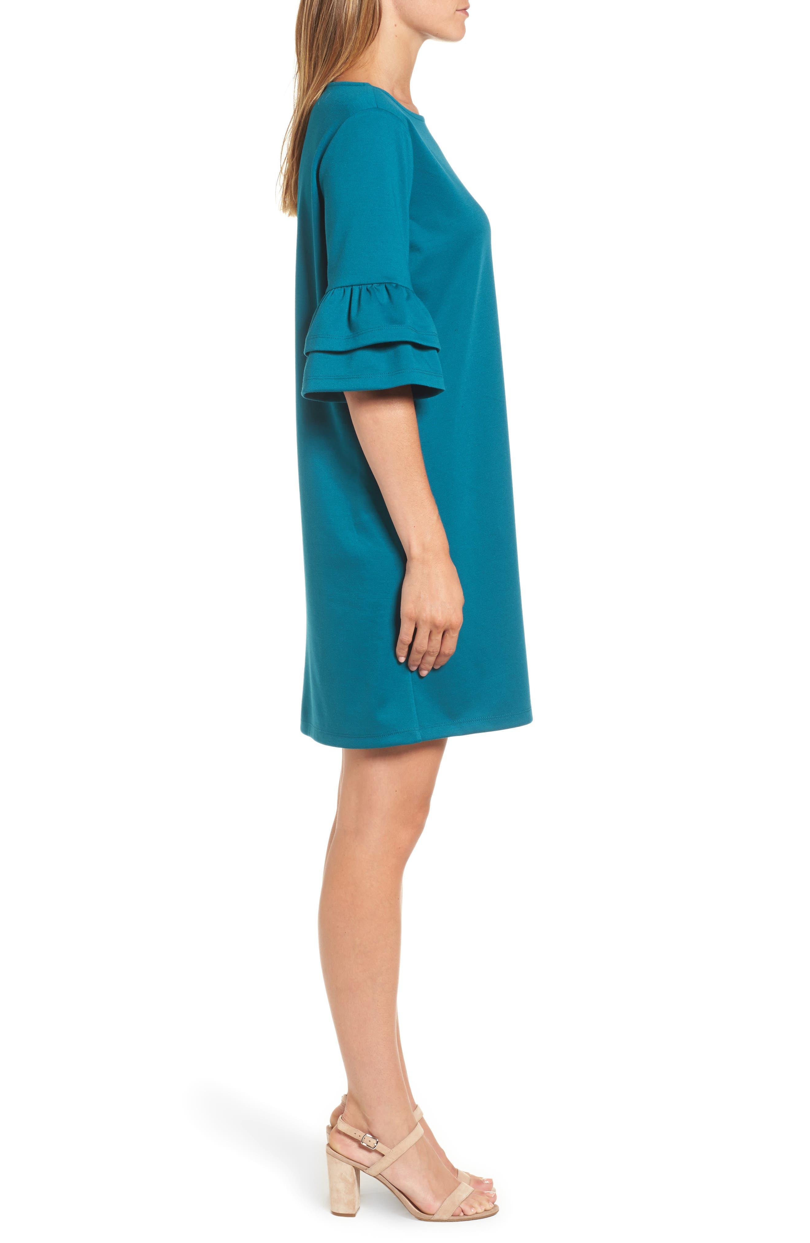 Ruffle Sleeve Shift Dress,                             Alternate thumbnail 3, color,                             440