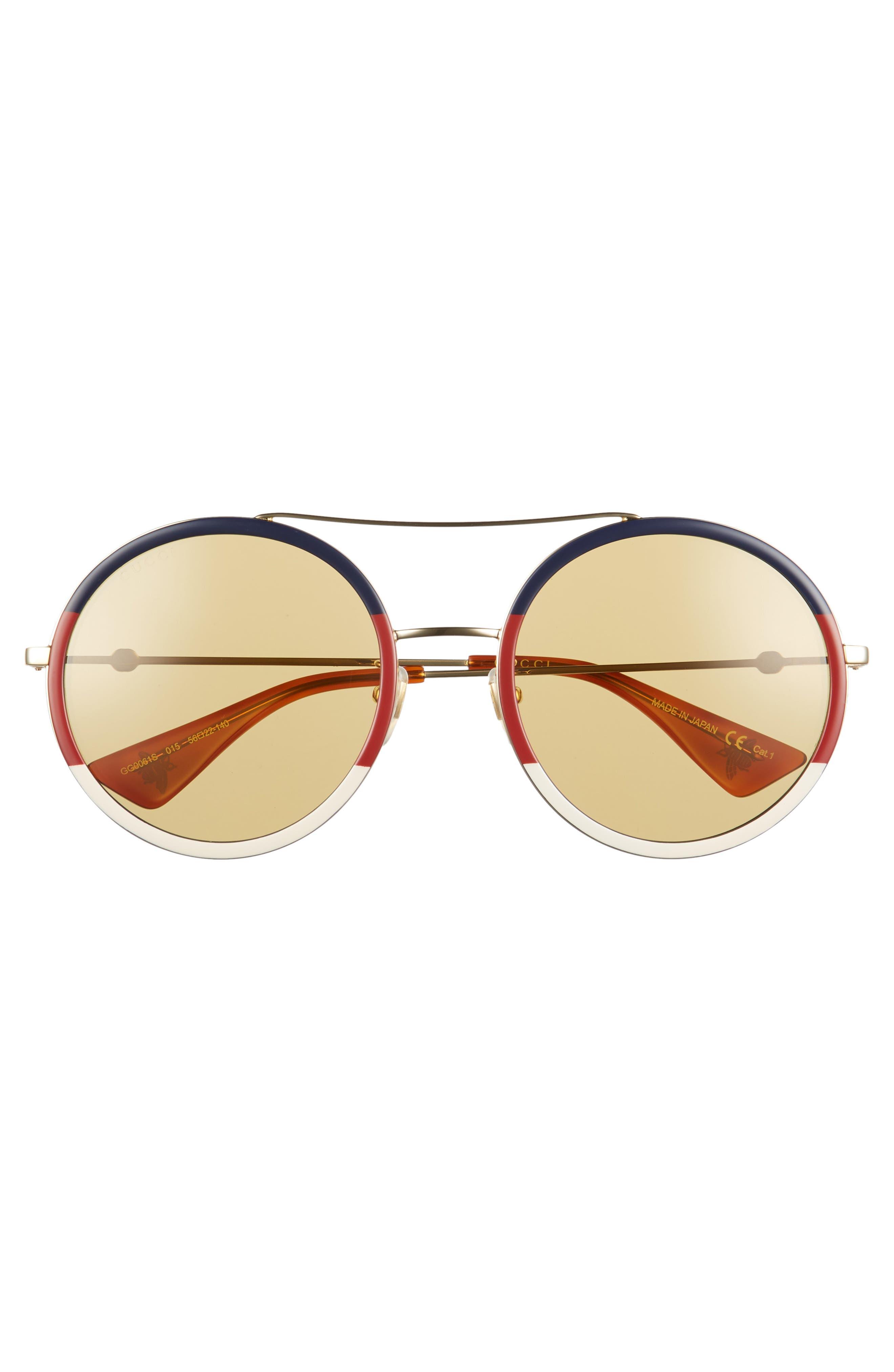 56mm Round Sunglasses,                             Alternate thumbnail 3, color,                             GOLD/ BLONDE HAVANA