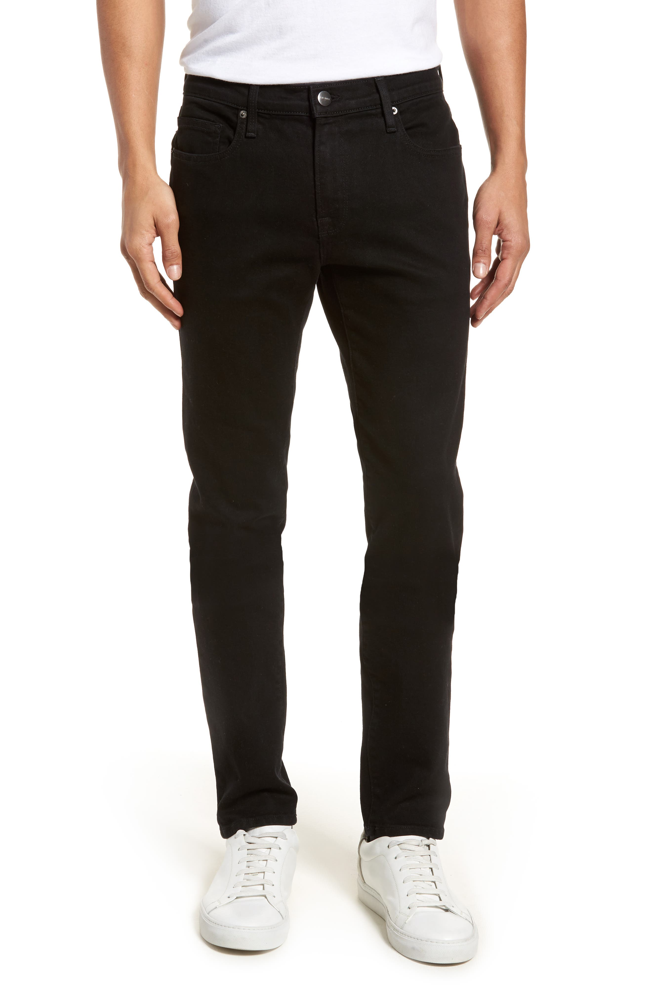L'Homme Skinny Fit Jeans,                             Main thumbnail 1, color,                             NOIR