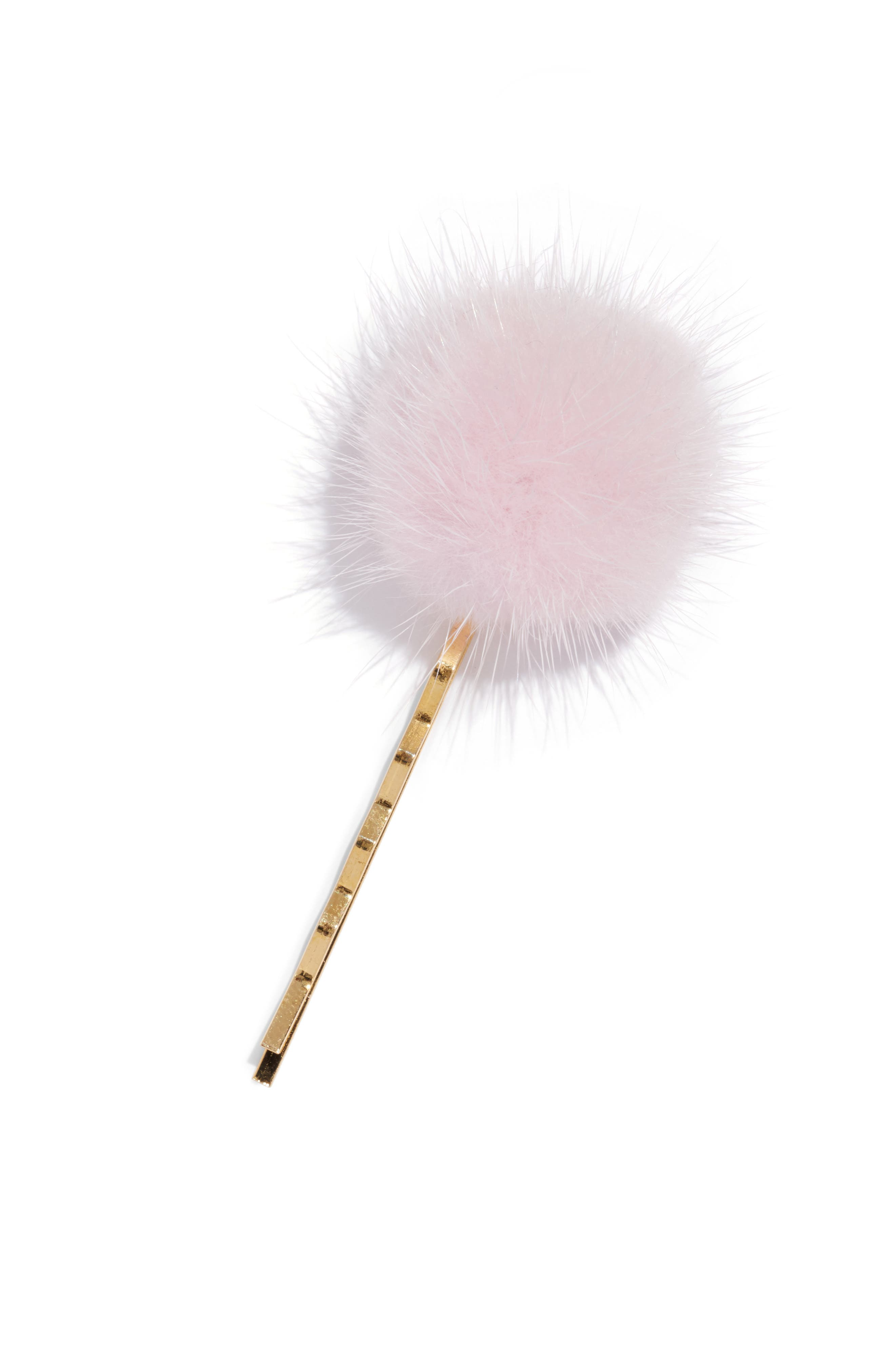 WILD AND WOOLLY Genuine Mink Fur Pom Bobby Pin in Pink