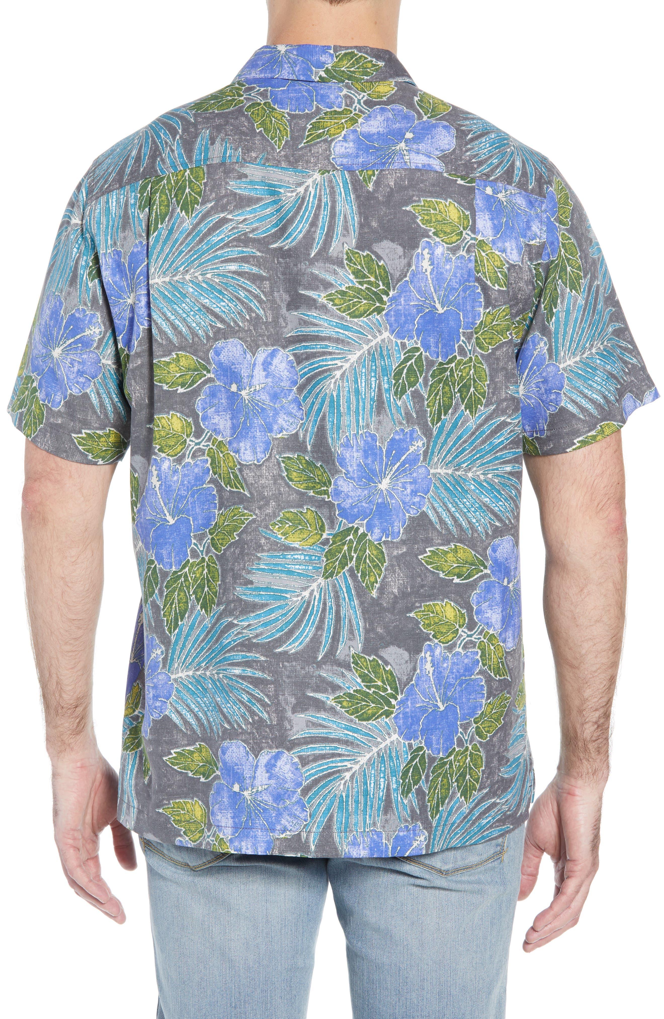 Hibiscus Cove Short Sleeve Silk Blend Sport Shirt,                             Alternate thumbnail 3, color,                             ONYX