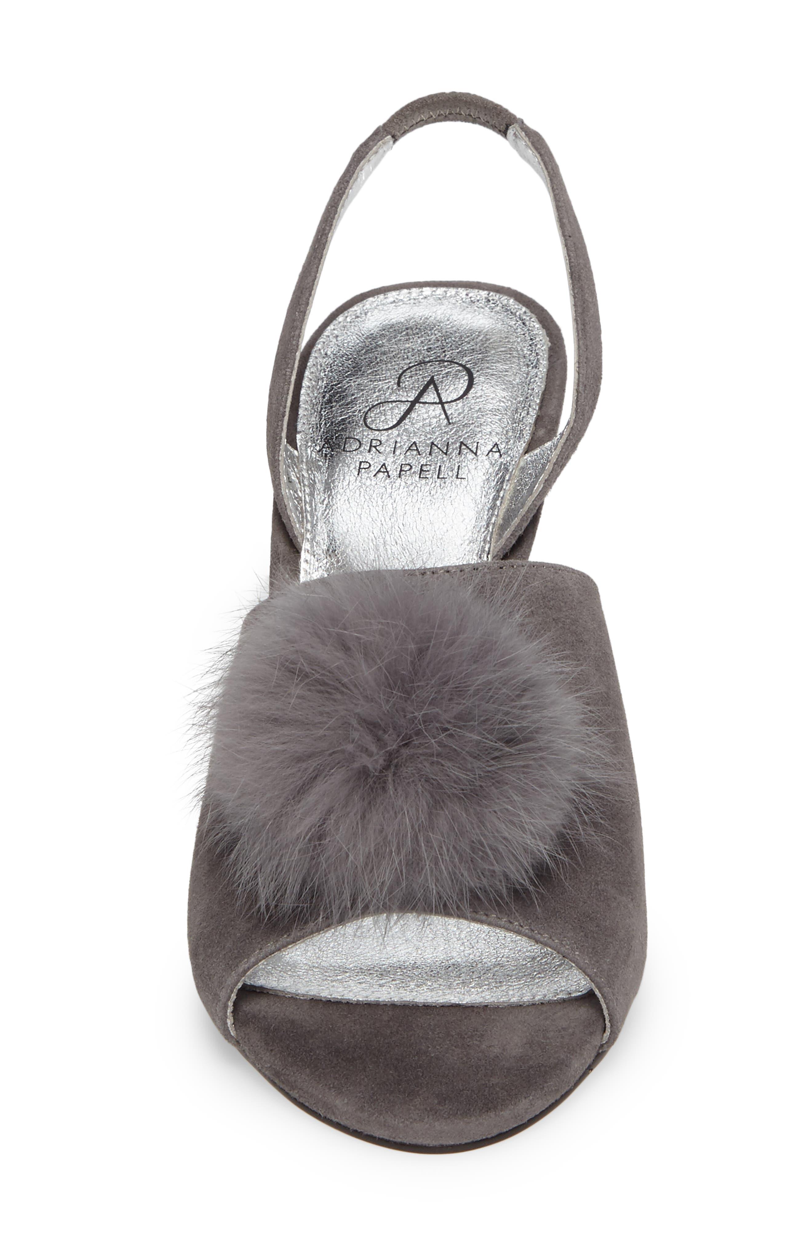 Alecia Genuine Rabbit Fur Pompom Sandal,                             Alternate thumbnail 8, color,