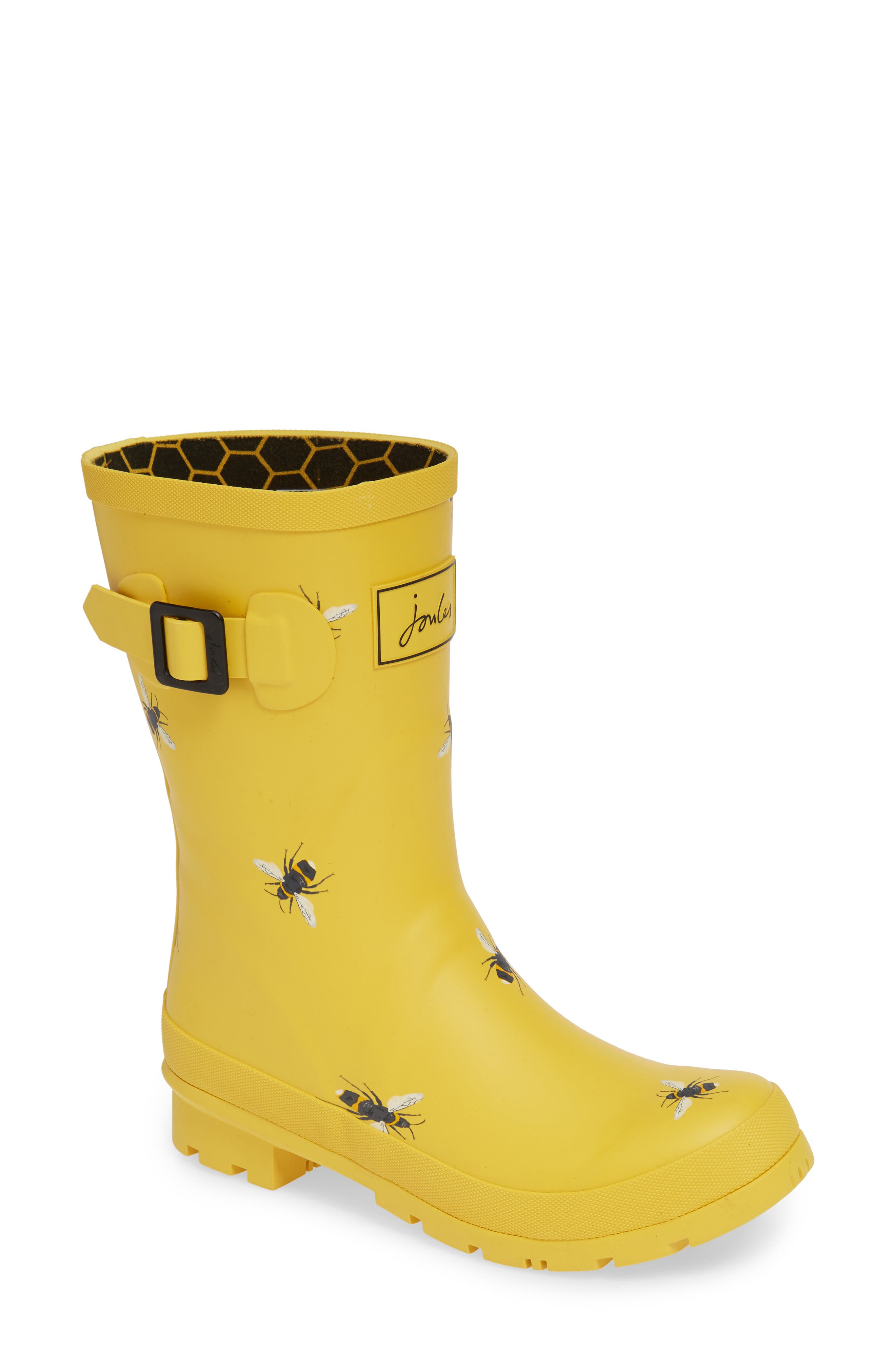 Print Molly Welly Rain Boot,                         Main,                         color, GOLD BOTANICAL BEES