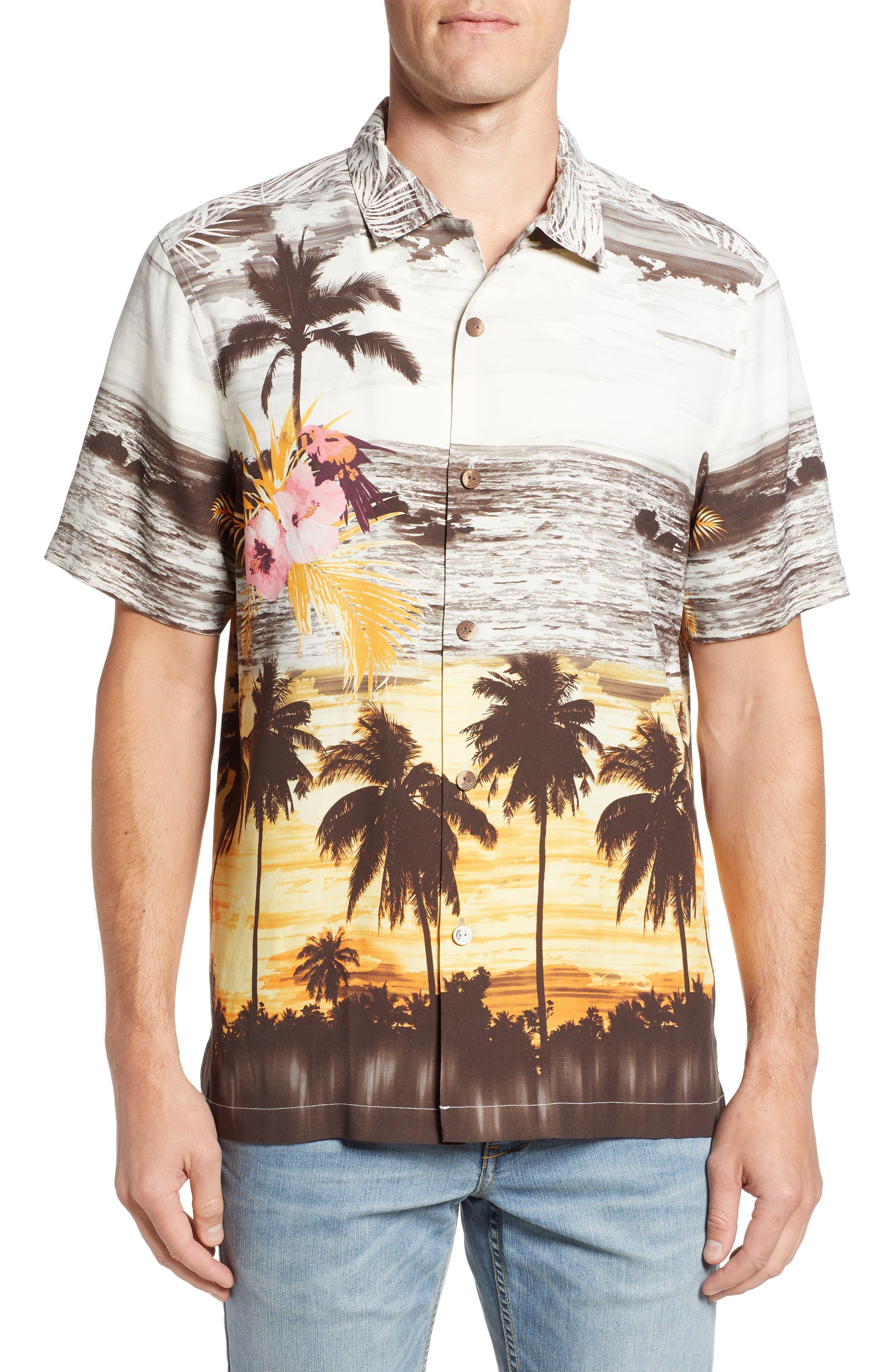 Sunset Serenade Silk Sport Shirt,                         Main,                         color, SUNSET ORANGE