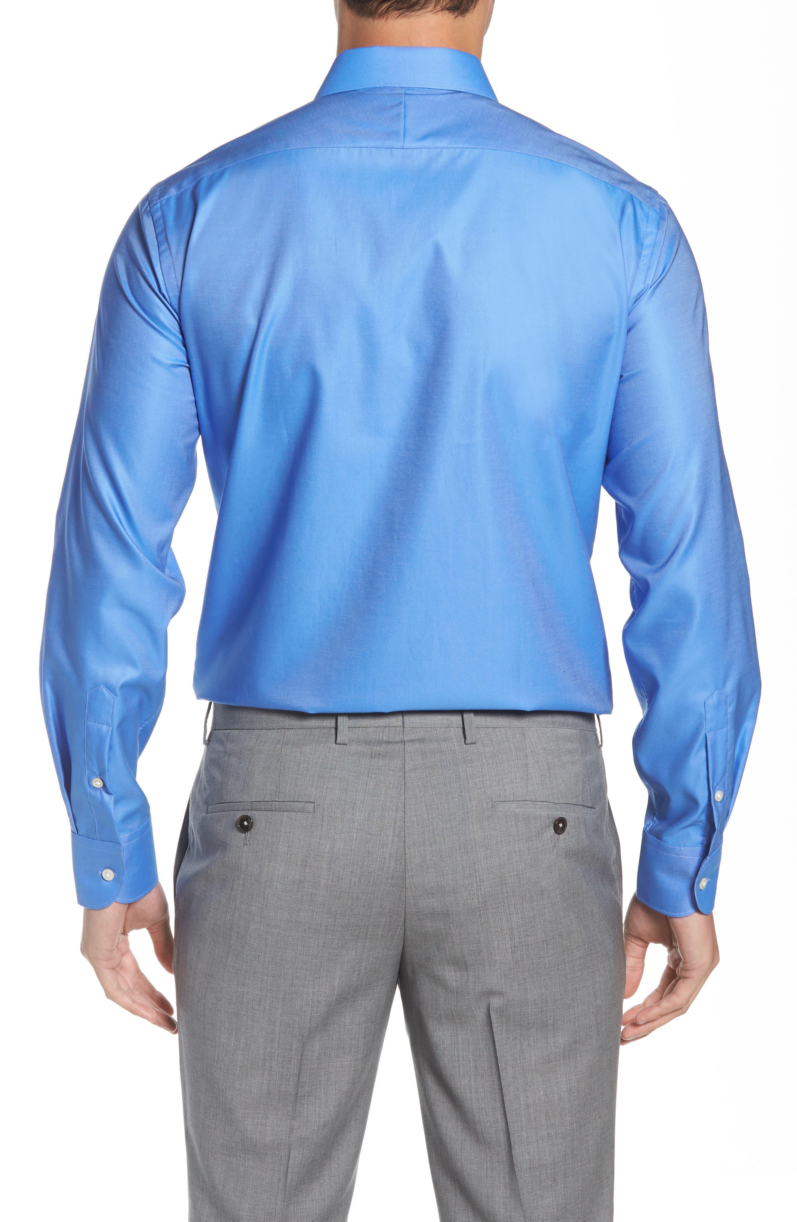 Regular Fit Solid Dress Shirt,                             Alternate thumbnail 3, color,                             DARK BLUE