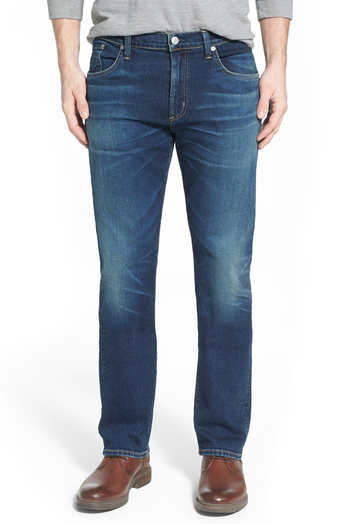 'Core' Slim Straight Leg Jeans,                             Main thumbnail 1, color,                             BRIGADE
