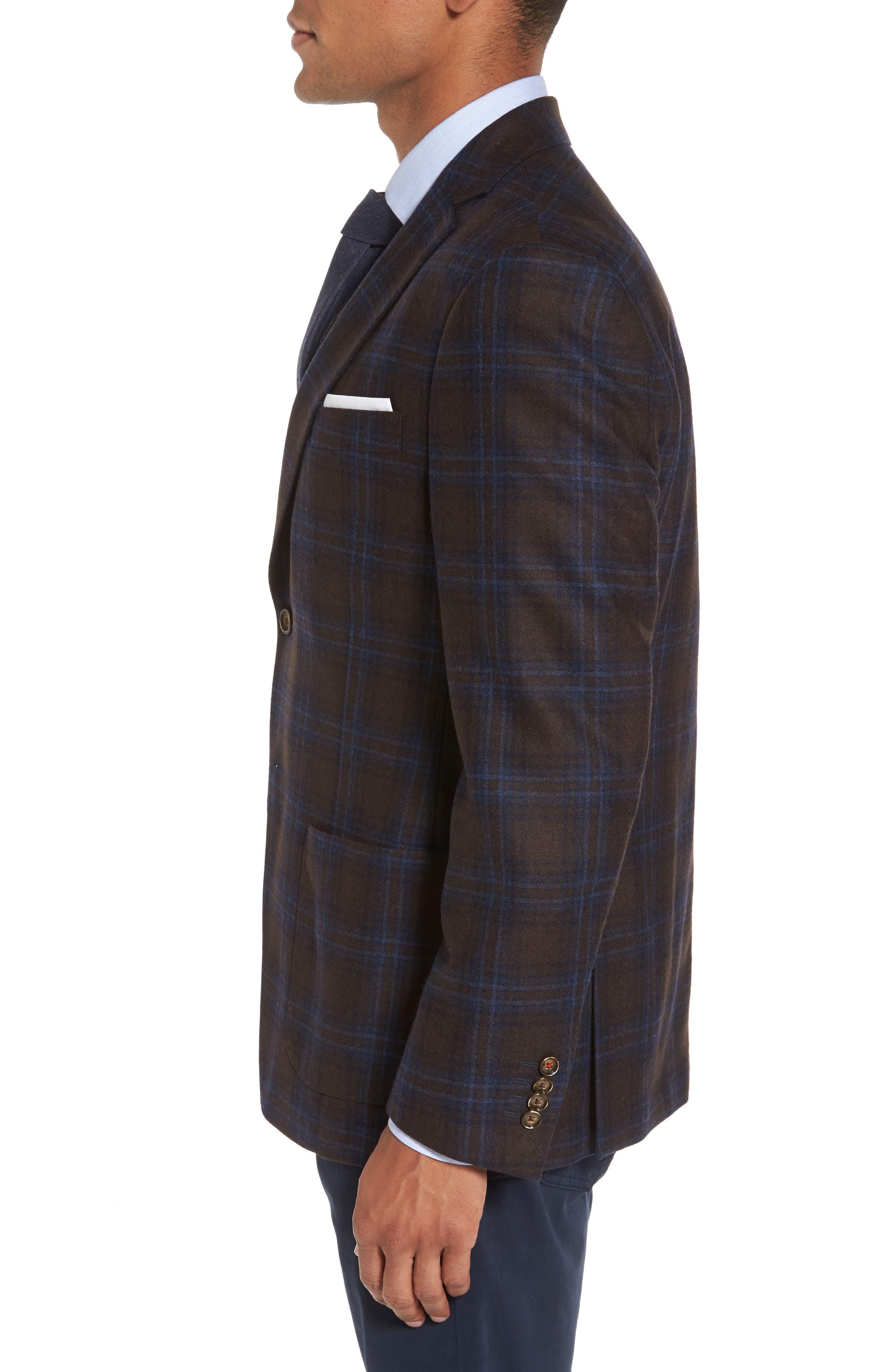 Trim Fit Plaid Wool Blend Sport Coat,                             Alternate thumbnail 3, color,                             230