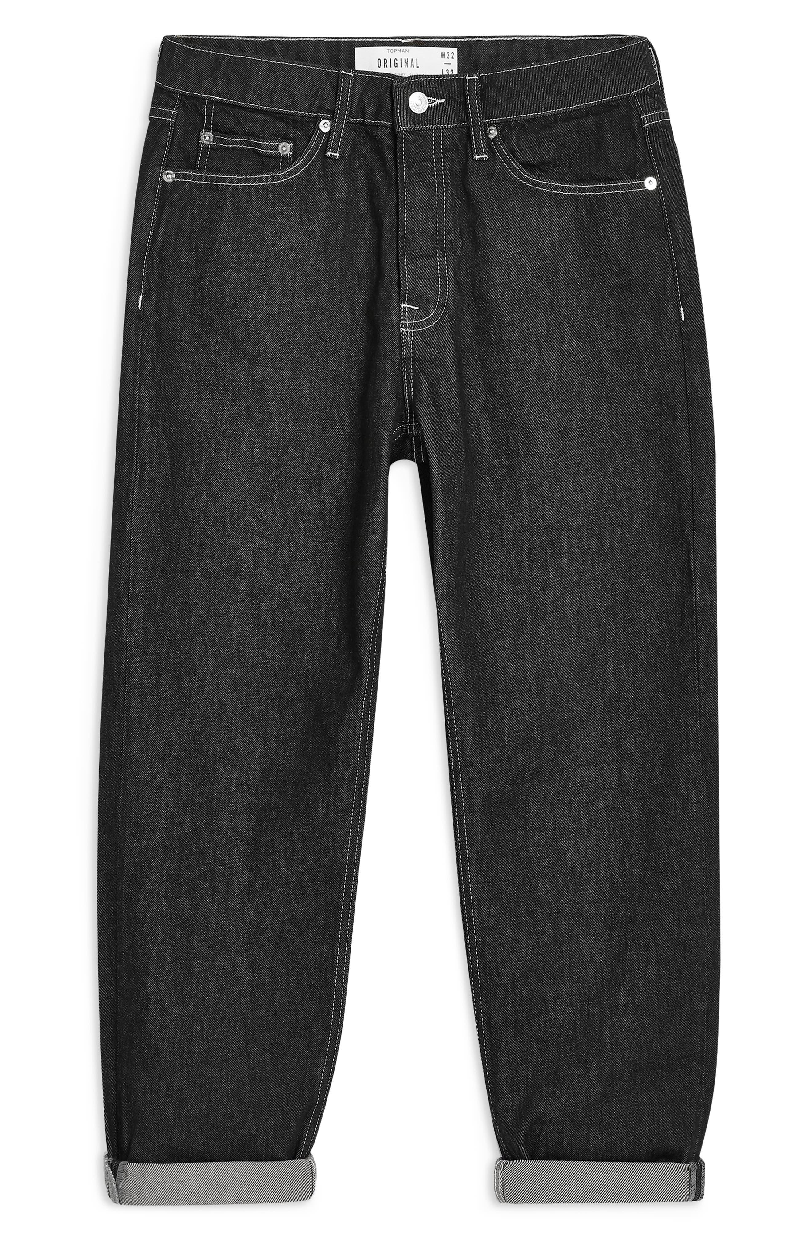 TOPMAN,                             Original Fit Jeans,                             Alternate thumbnail 4, color,                             BLACK