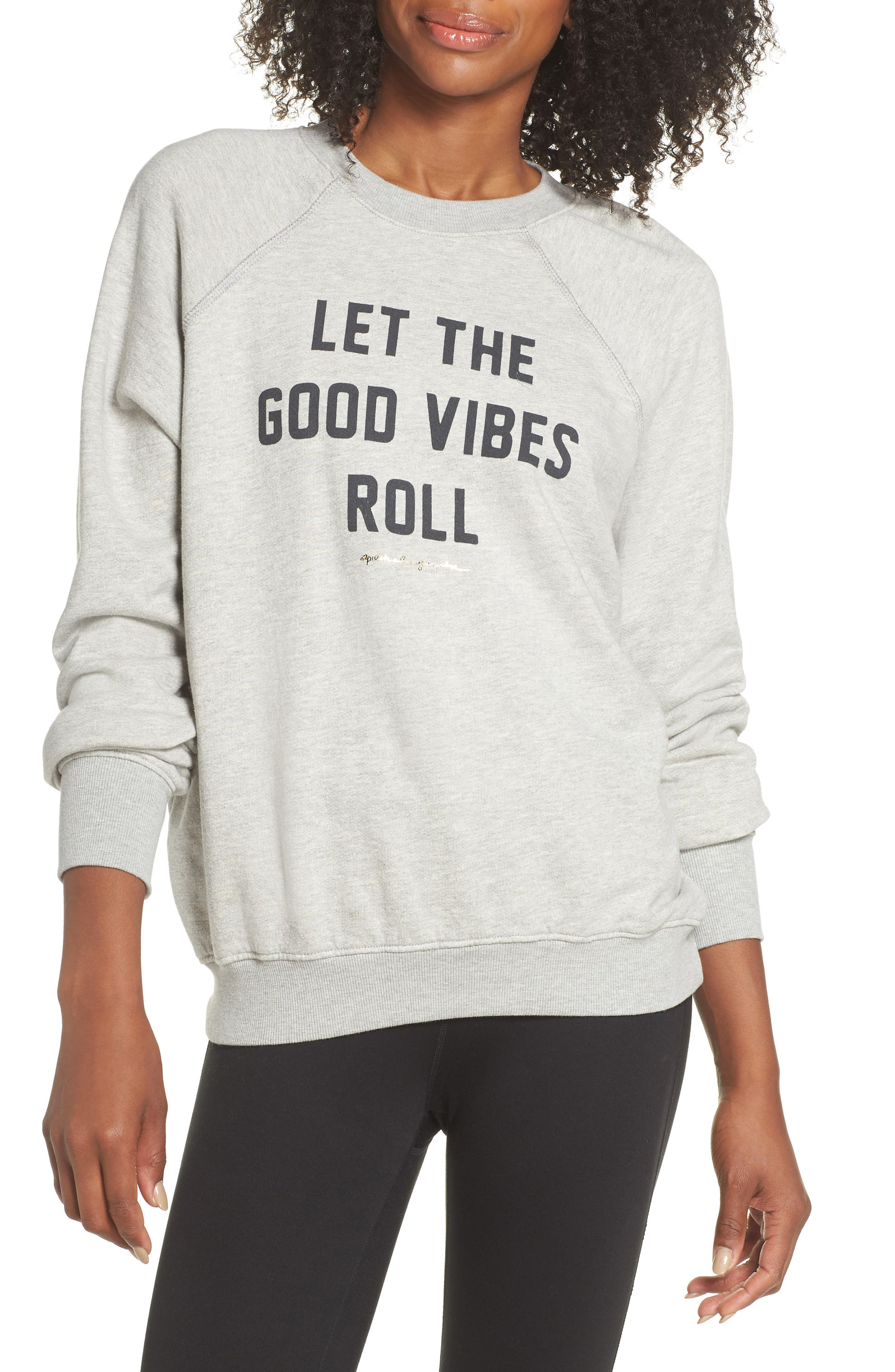 Let the Good Vibes Roll Perfect Pullover,                         Main,                         color, HEATHER GREY