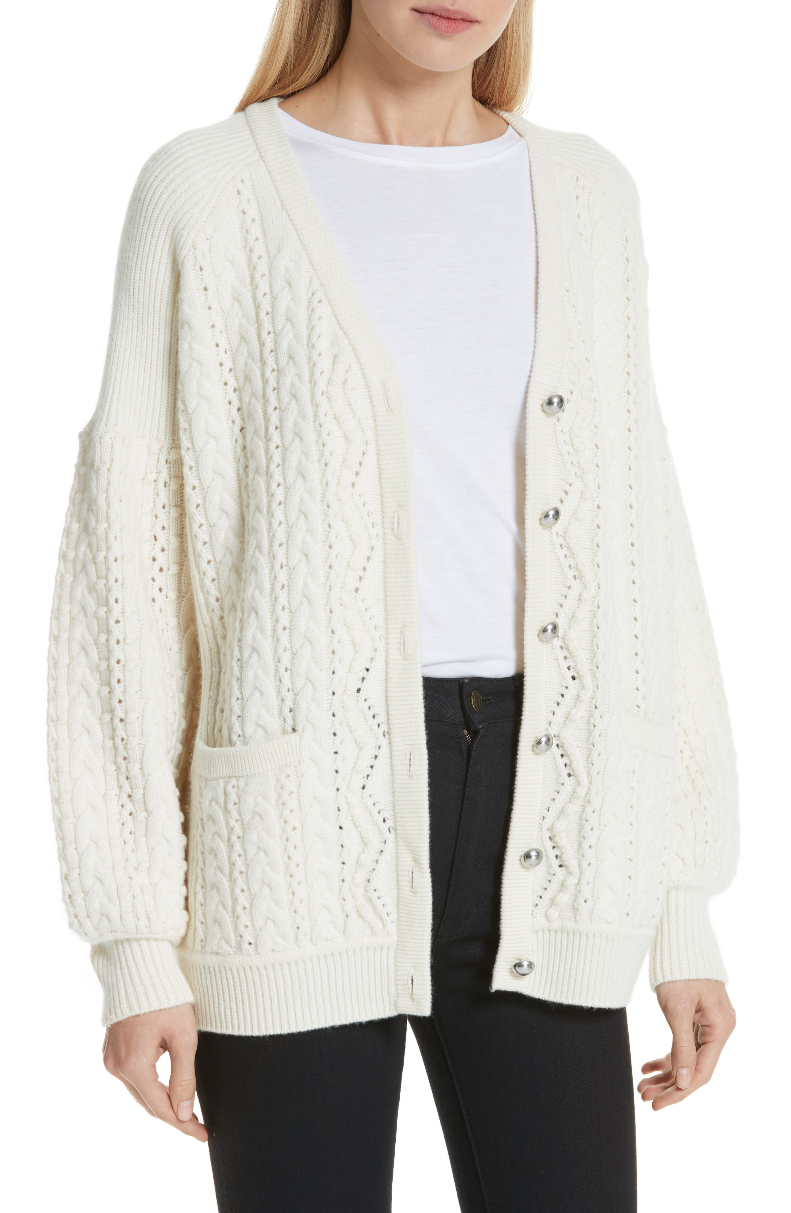 Cable Knit Wool & Cashmere Cardigan,                             Main thumbnail 1, color,                             IVORY