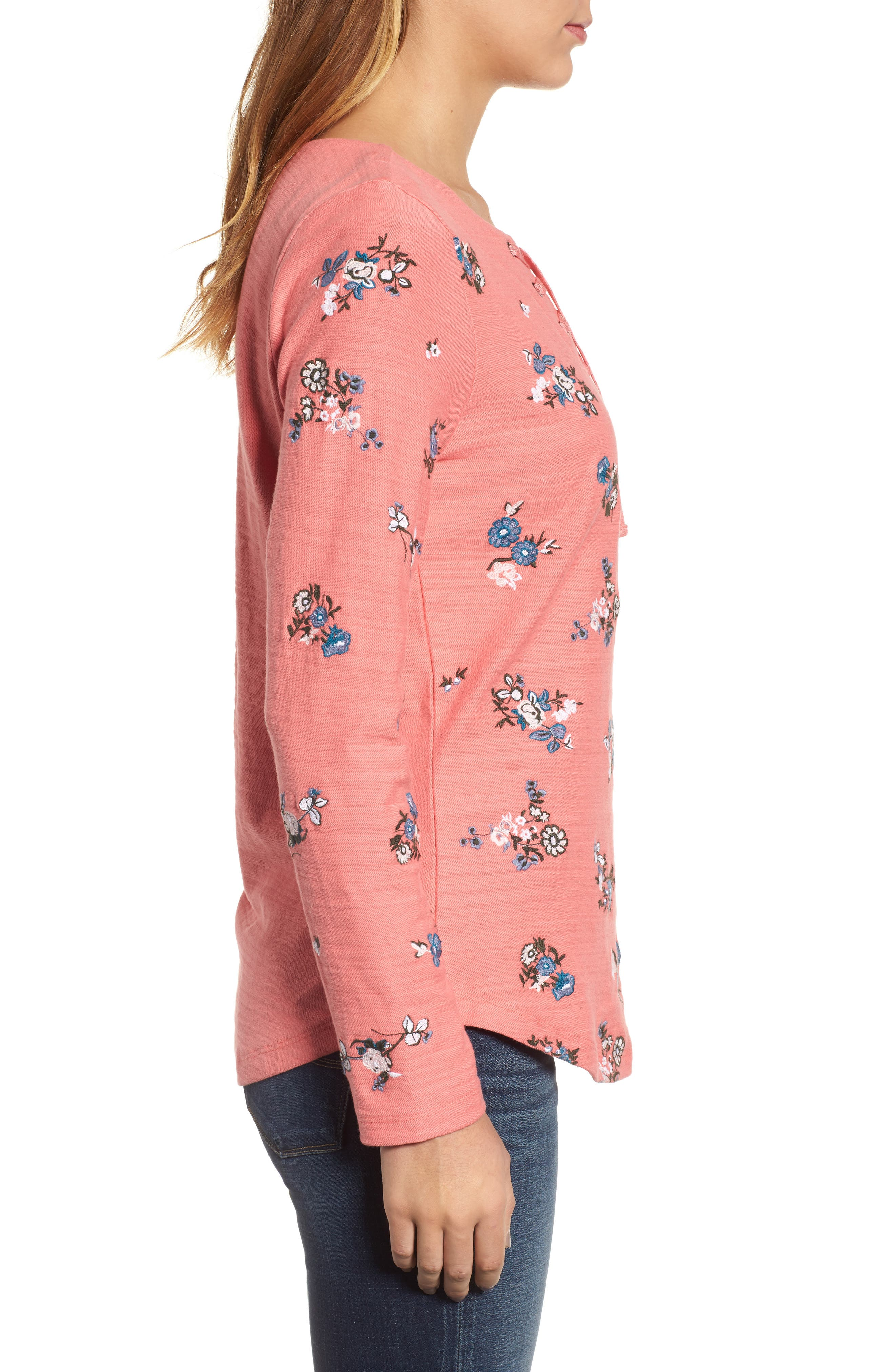 Lace-Up Neck Floral Embroidered Sweatshirt,                             Alternate thumbnail 6, color,