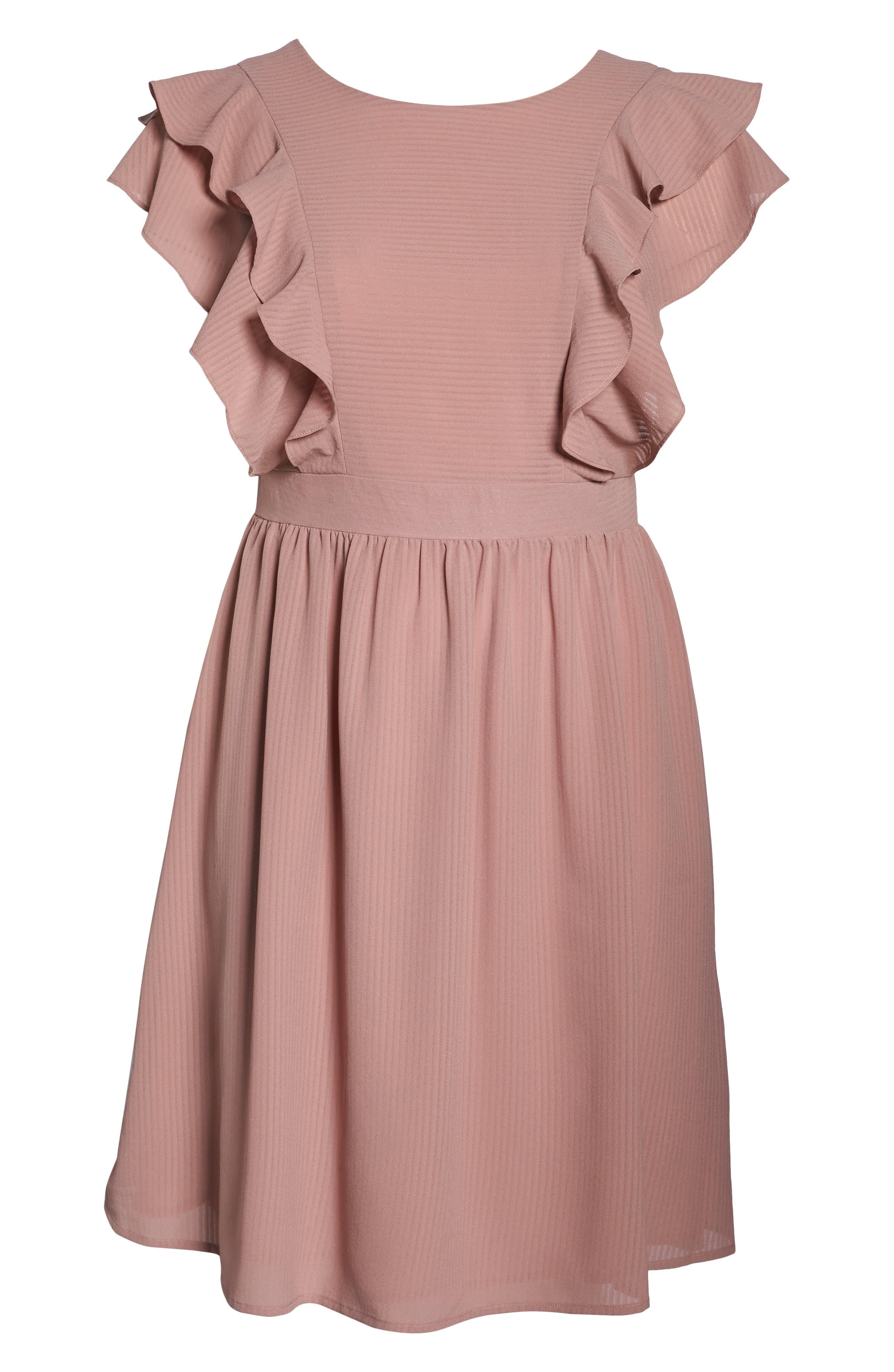 Ruffle Sleeve Fit & Flare Dress,                             Alternate thumbnail 7, color,                             681