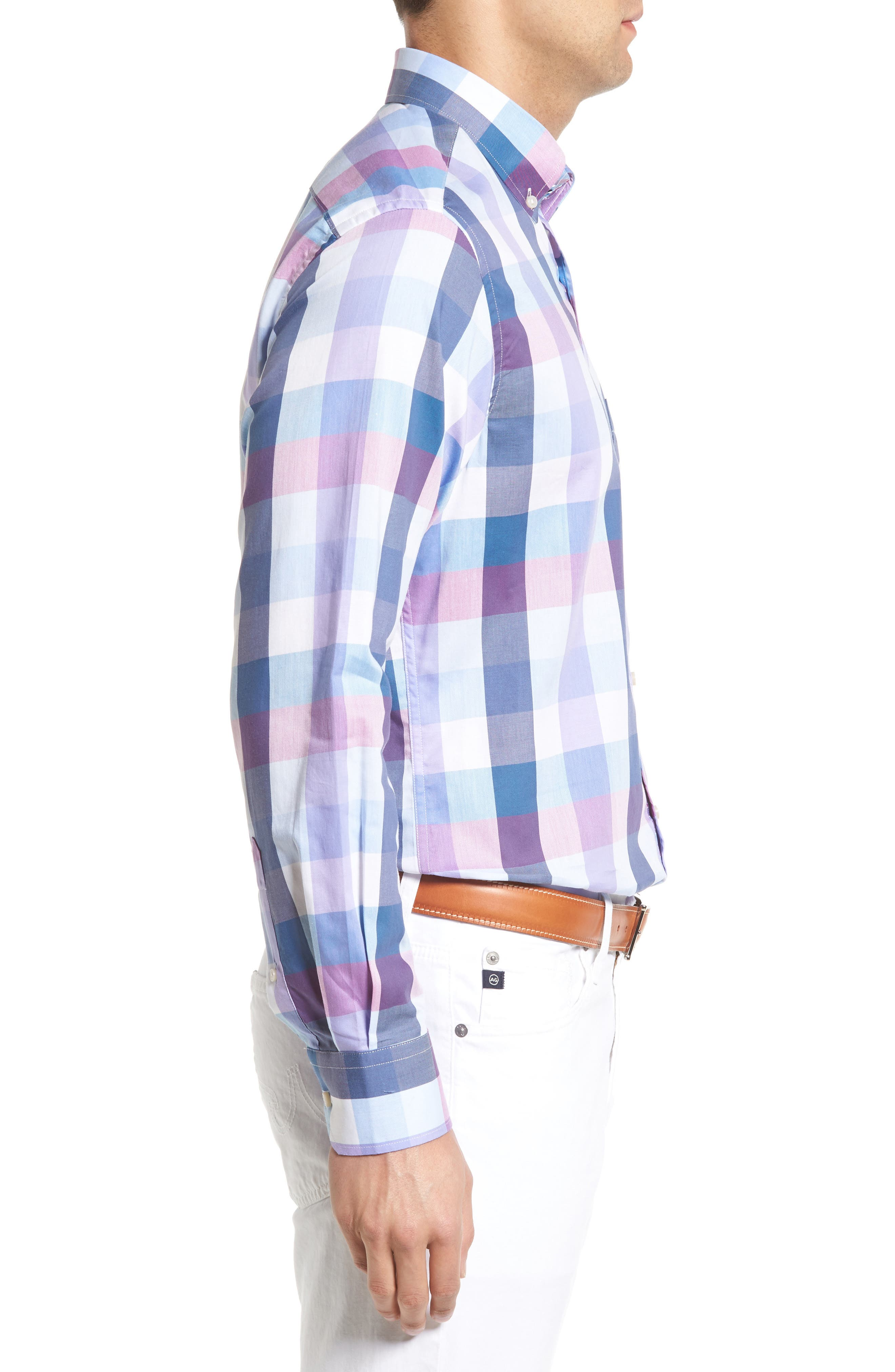 Accona Regular Fit Buffalo Check Sport Shirt,                             Alternate thumbnail 3, color,                             450