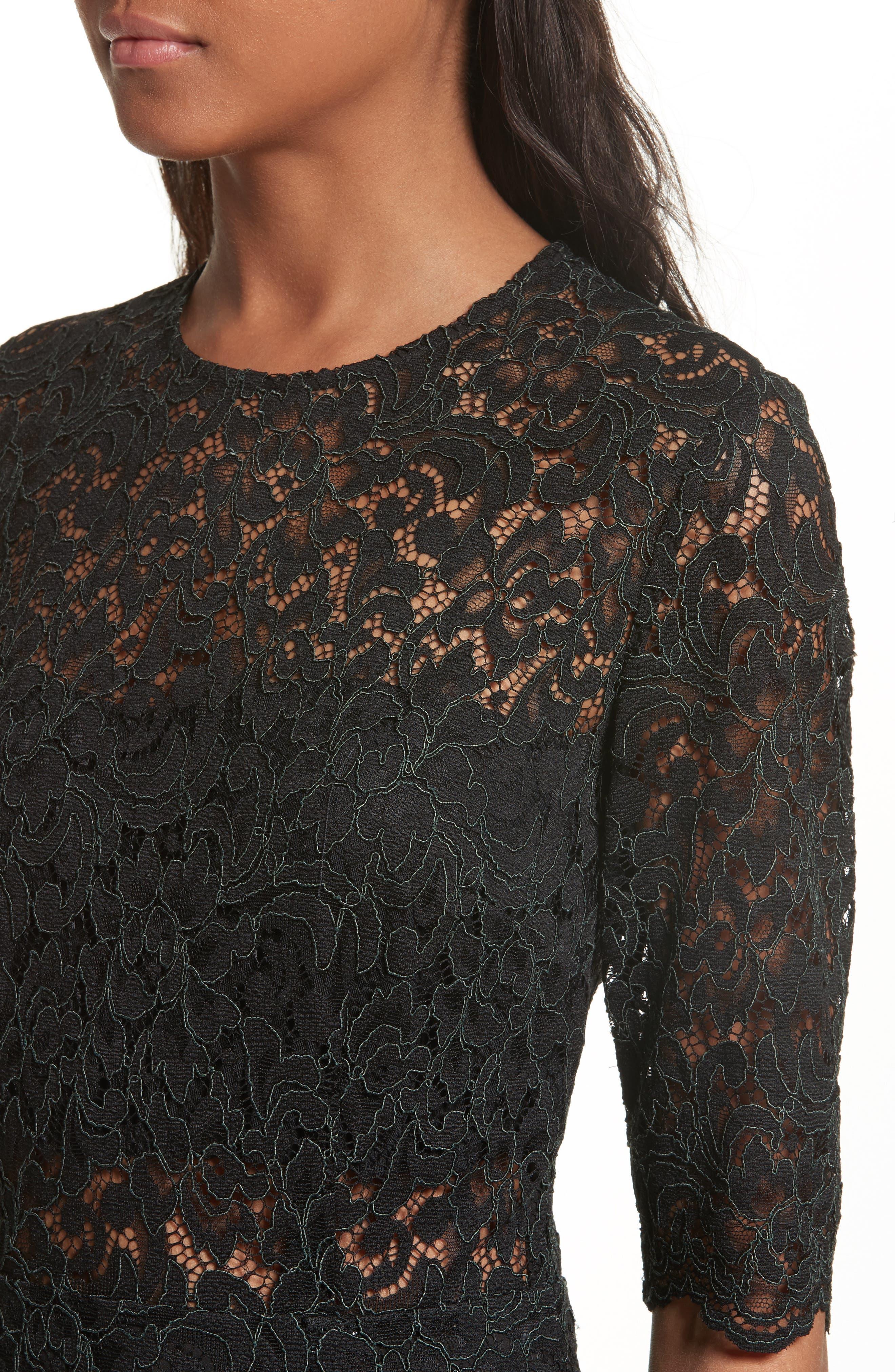 Linden Lace Midi Dress,                             Alternate thumbnail 4, color,