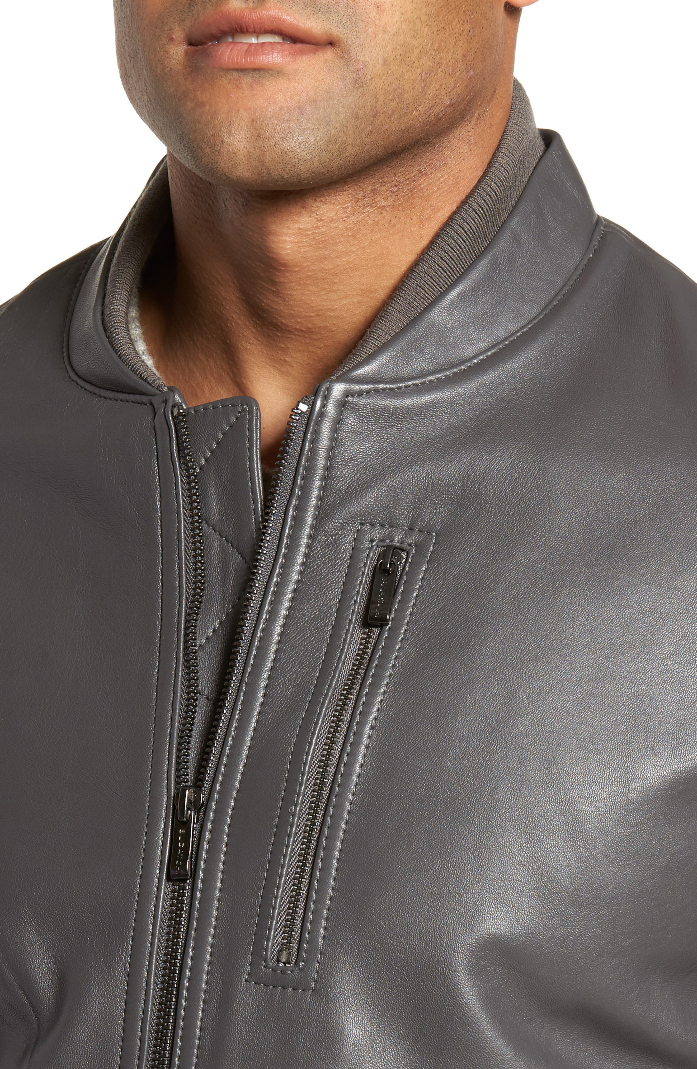 Leather Bomber Jacket,                             Alternate thumbnail 4, color,                             020