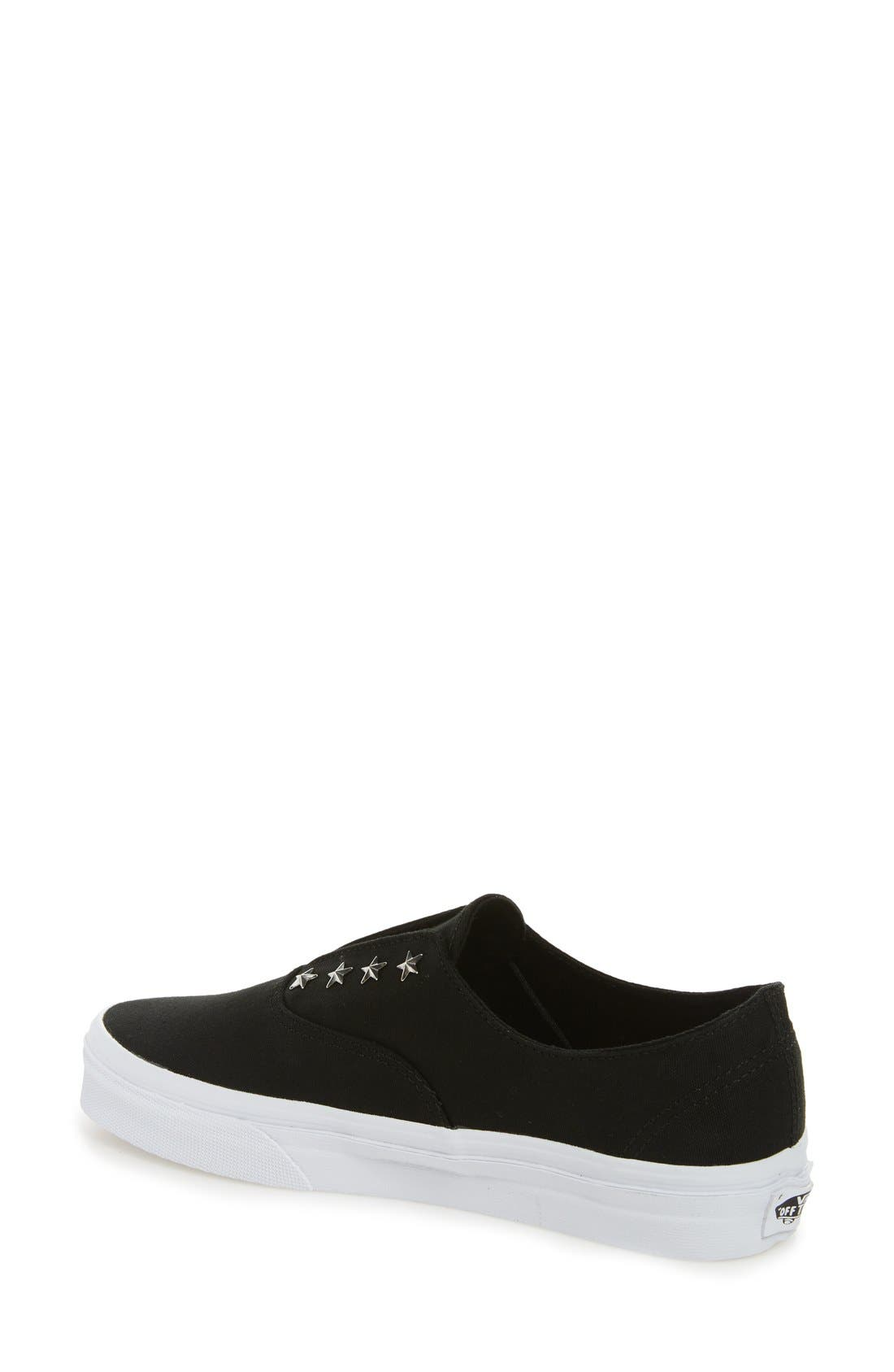 'Authentic' Studded Slip-On Sneaker,                             Alternate thumbnail 3, color,                             001