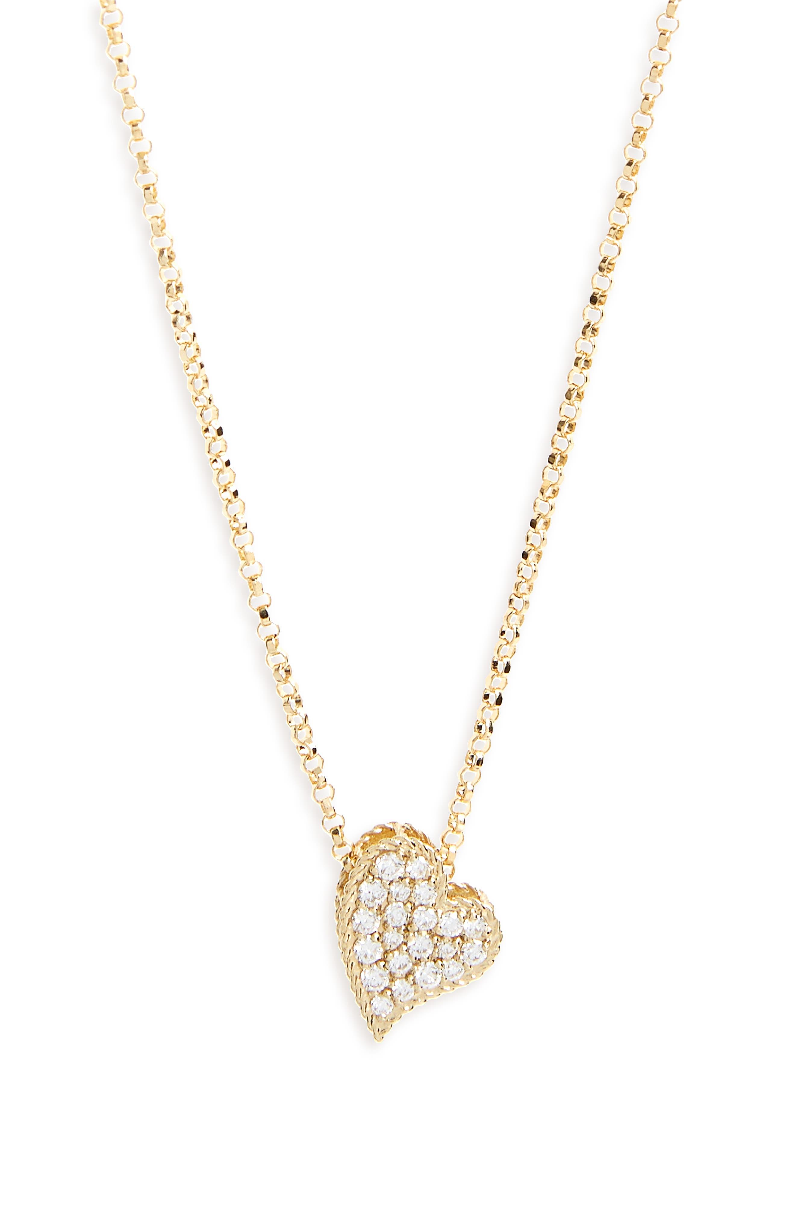 Princess Diamond Pavé Heart Necklace,                             Main thumbnail 1, color,