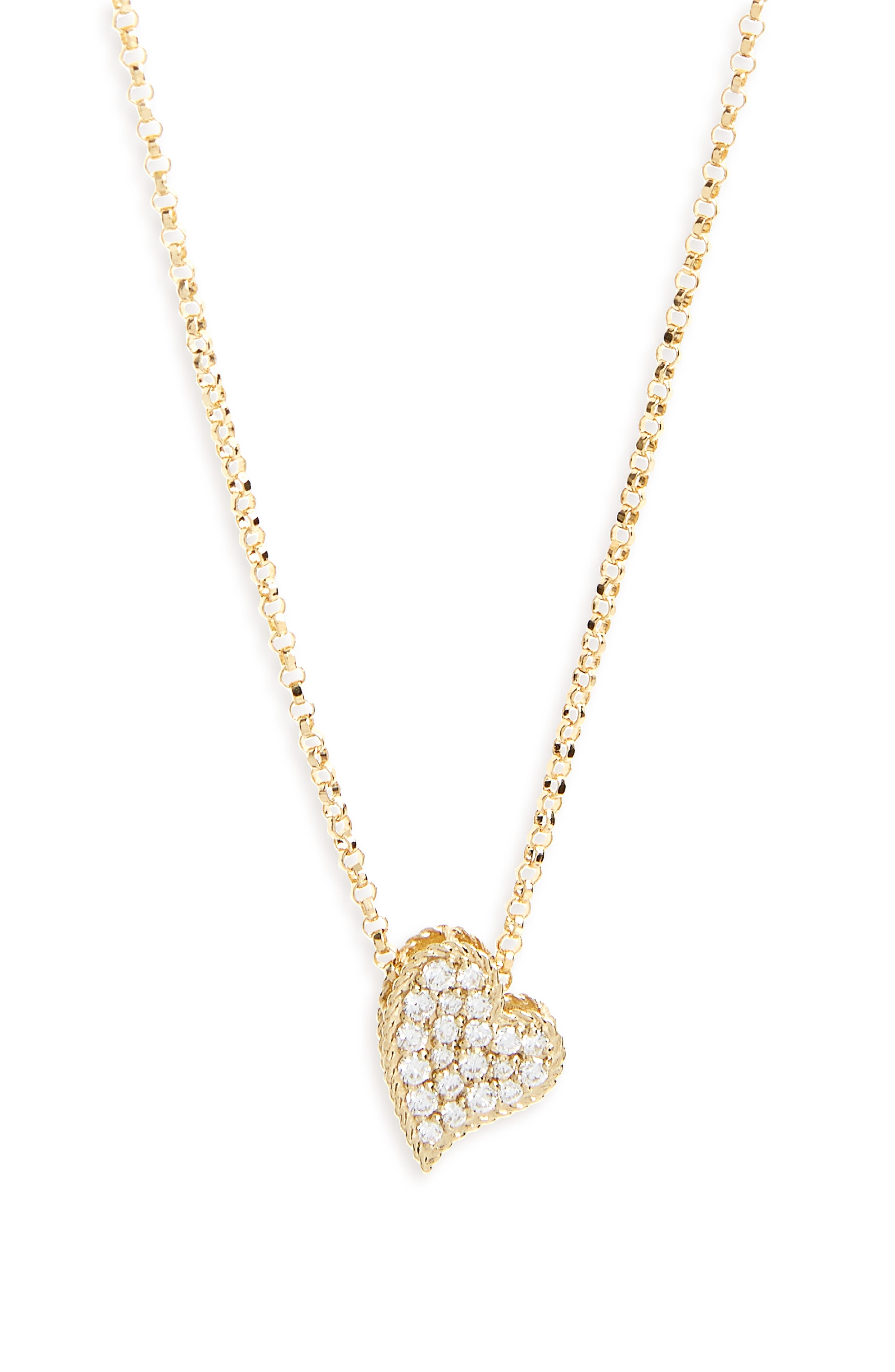 Princess Diamond Pavé Heart Necklace,                         Main,                         color,