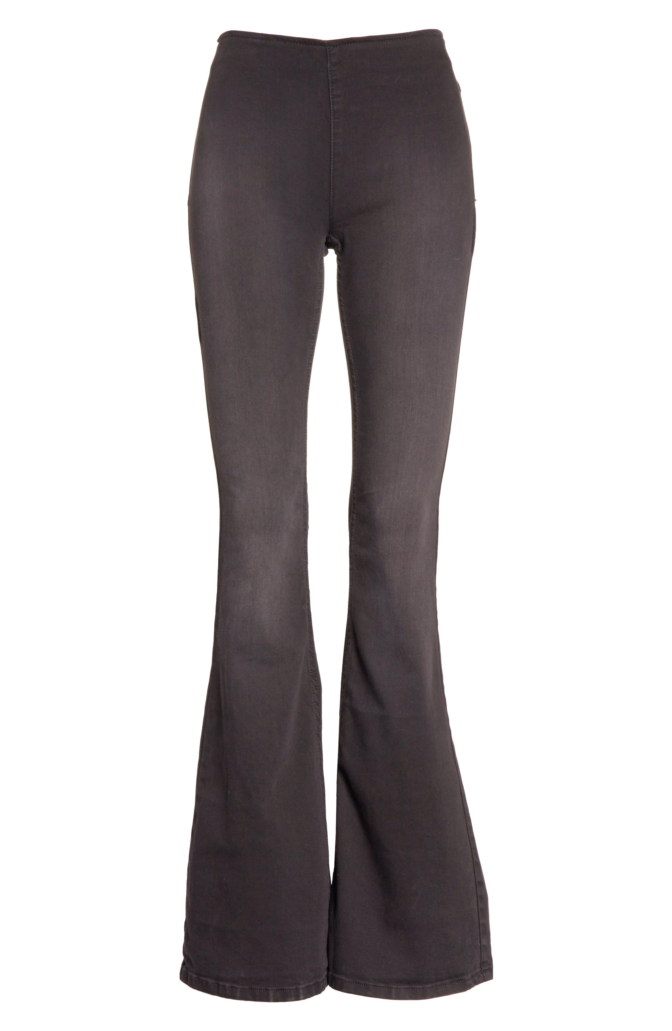 We the Free by Free People Gummy Pull-On Flare Leg Jeans,                             Alternate thumbnail 7, color,                             BLACK