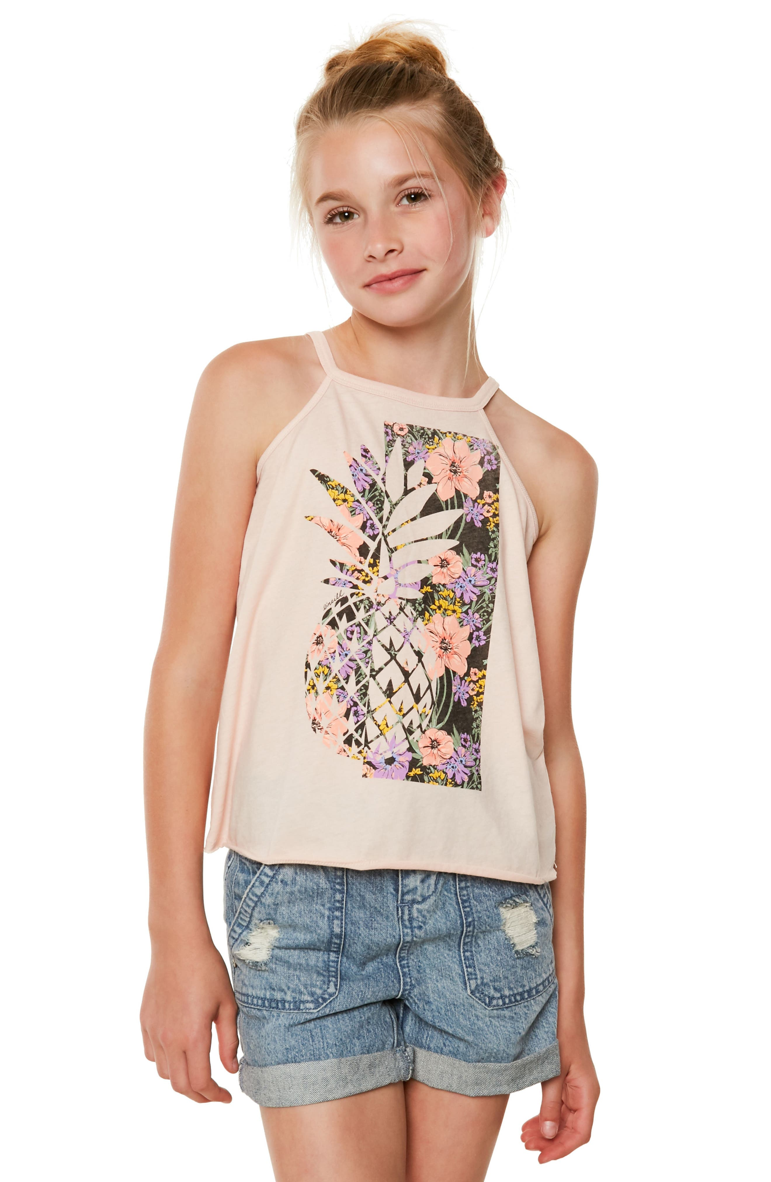 Pineapple Garden Graphic Tank,                             Alternate thumbnail 3, color,                             CAMEO ROSE - LLY