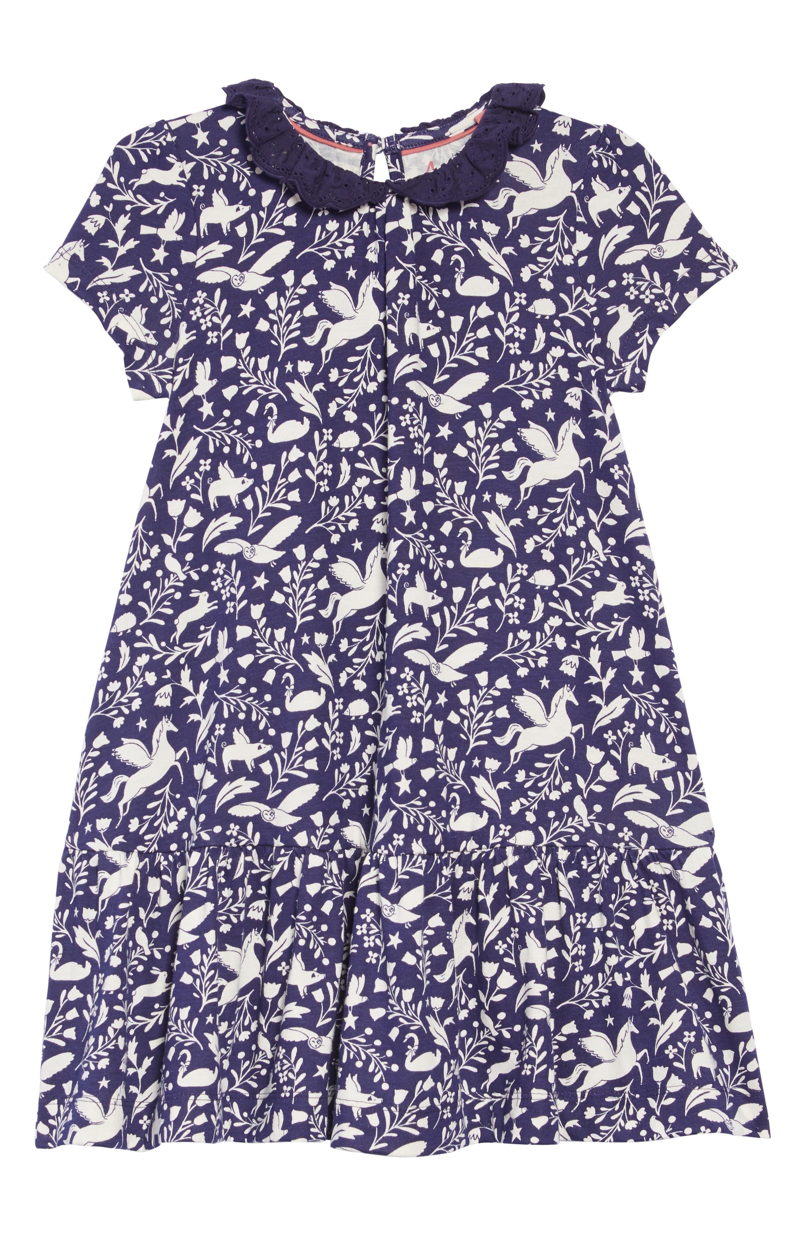 Print Jersey Dress,                         Main,                         color, PRUSSIAN BLUE PECULIAR PETS