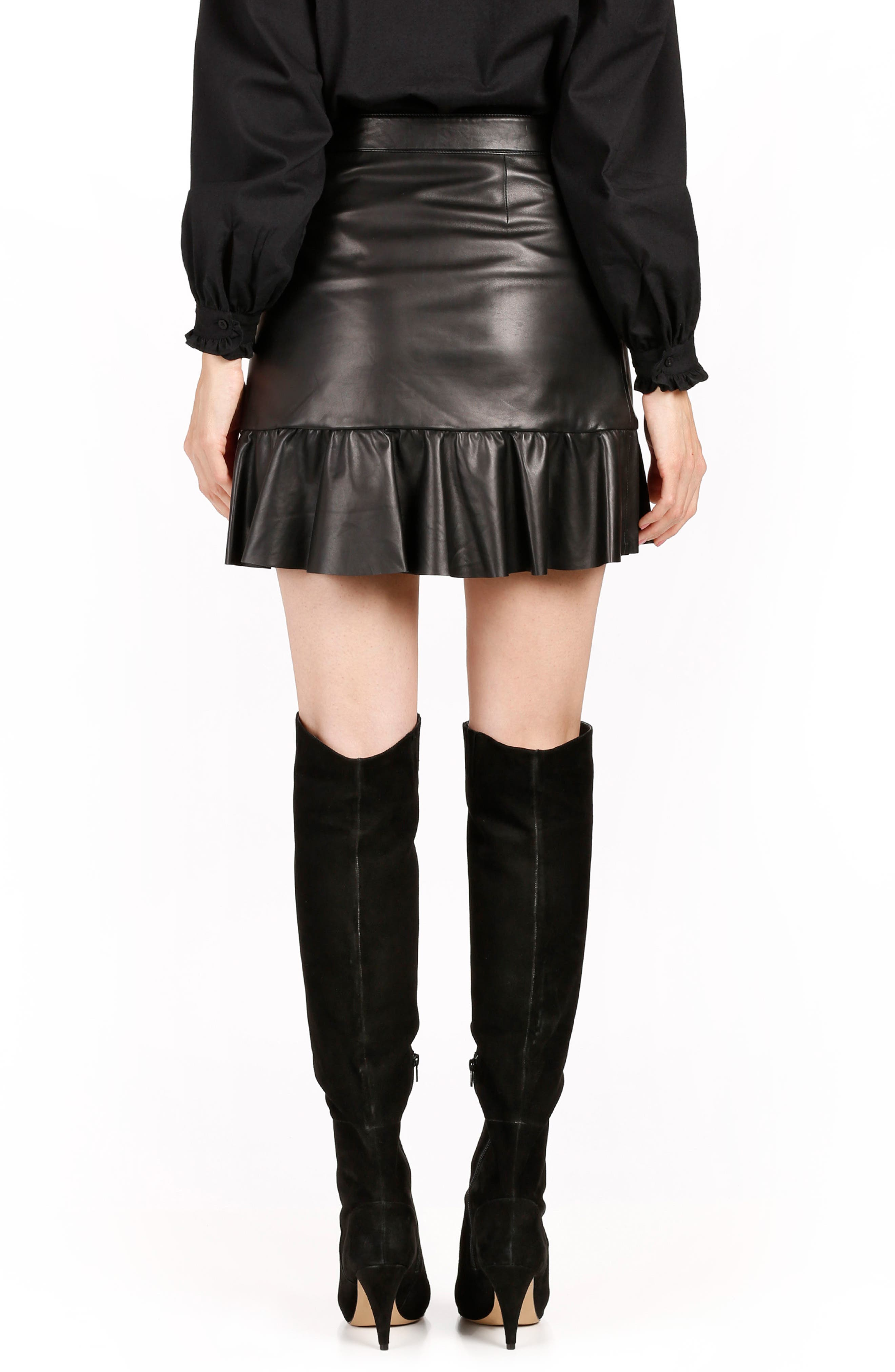 Nivelle Ruffle Leather Skirt,                             Alternate thumbnail 2, color,                             001