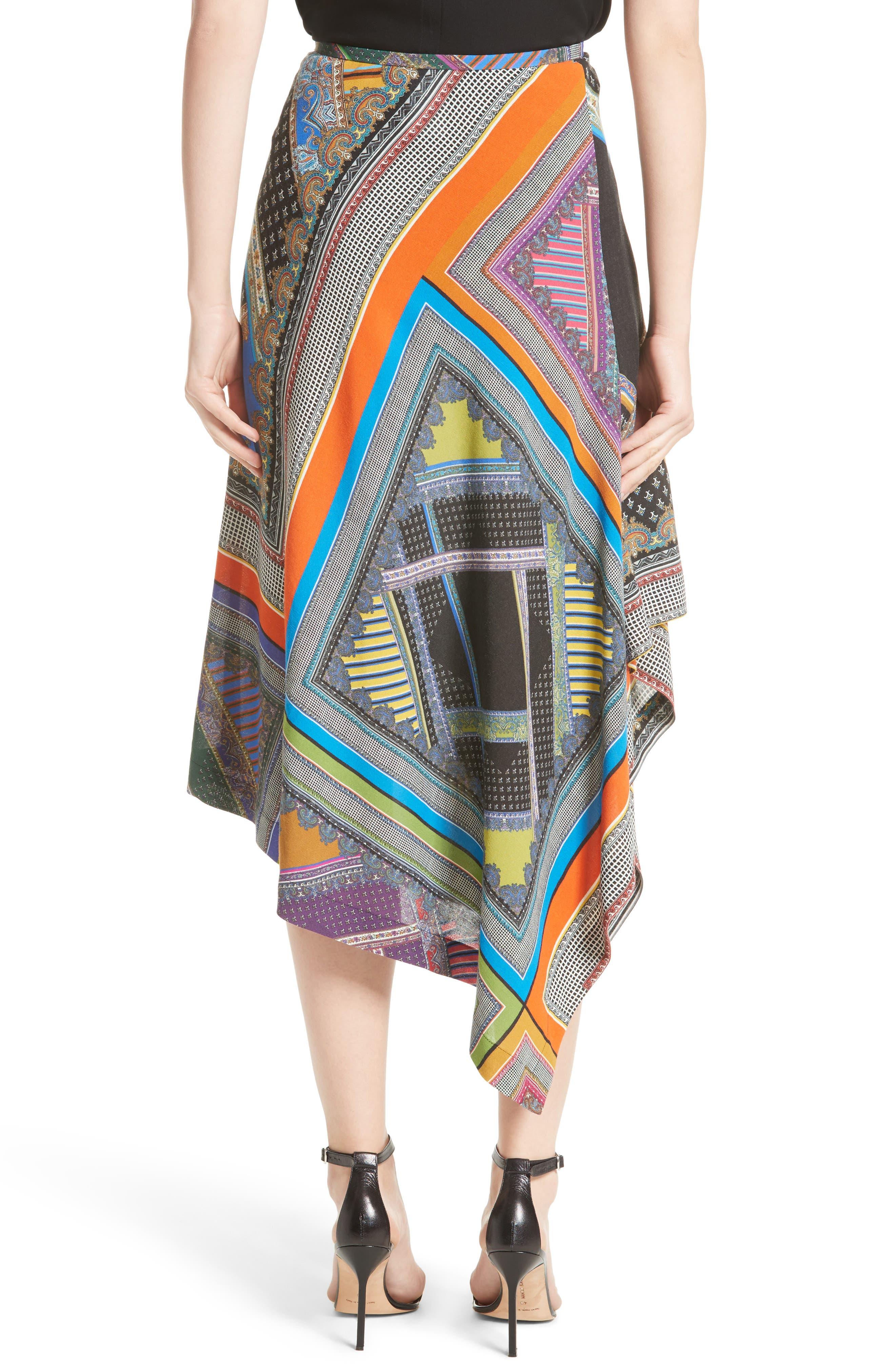 Patchwork Print Asymmetrical Skirt,                             Alternate thumbnail 2, color,                             800