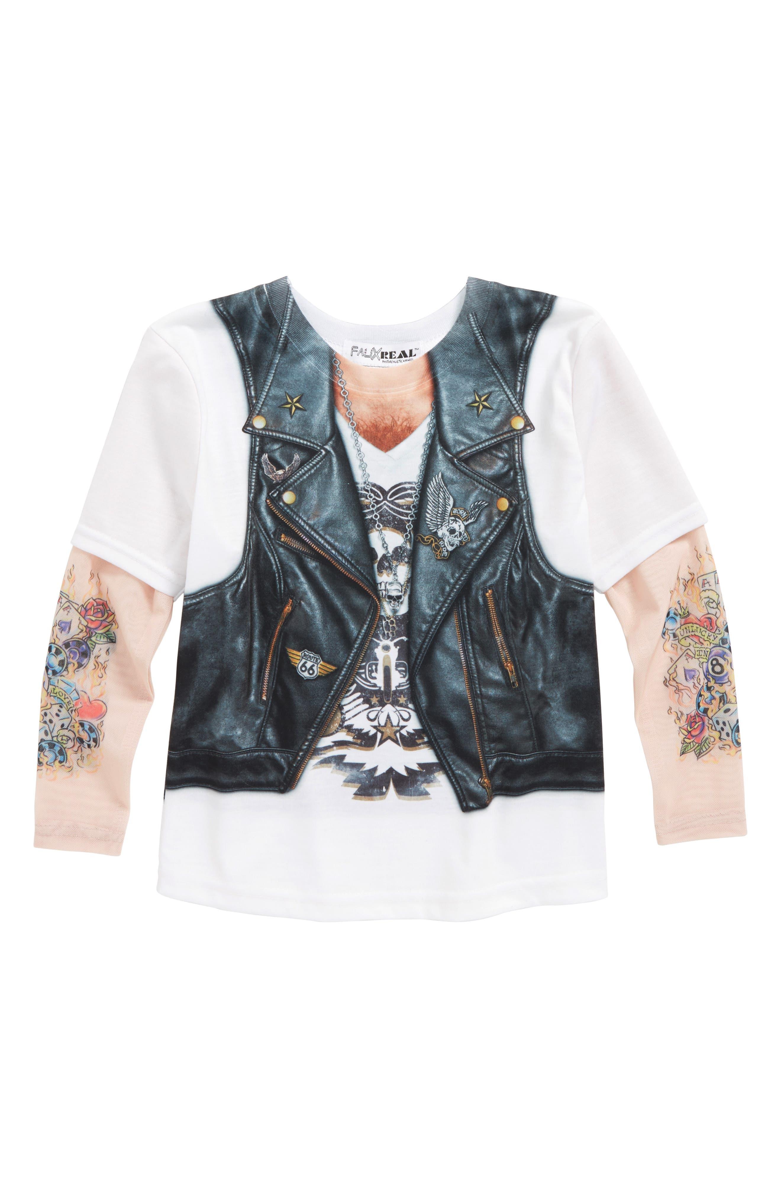 Biker Print T-Shirt with Tattoo Print Sleeves,                             Main thumbnail 1, color,                             001