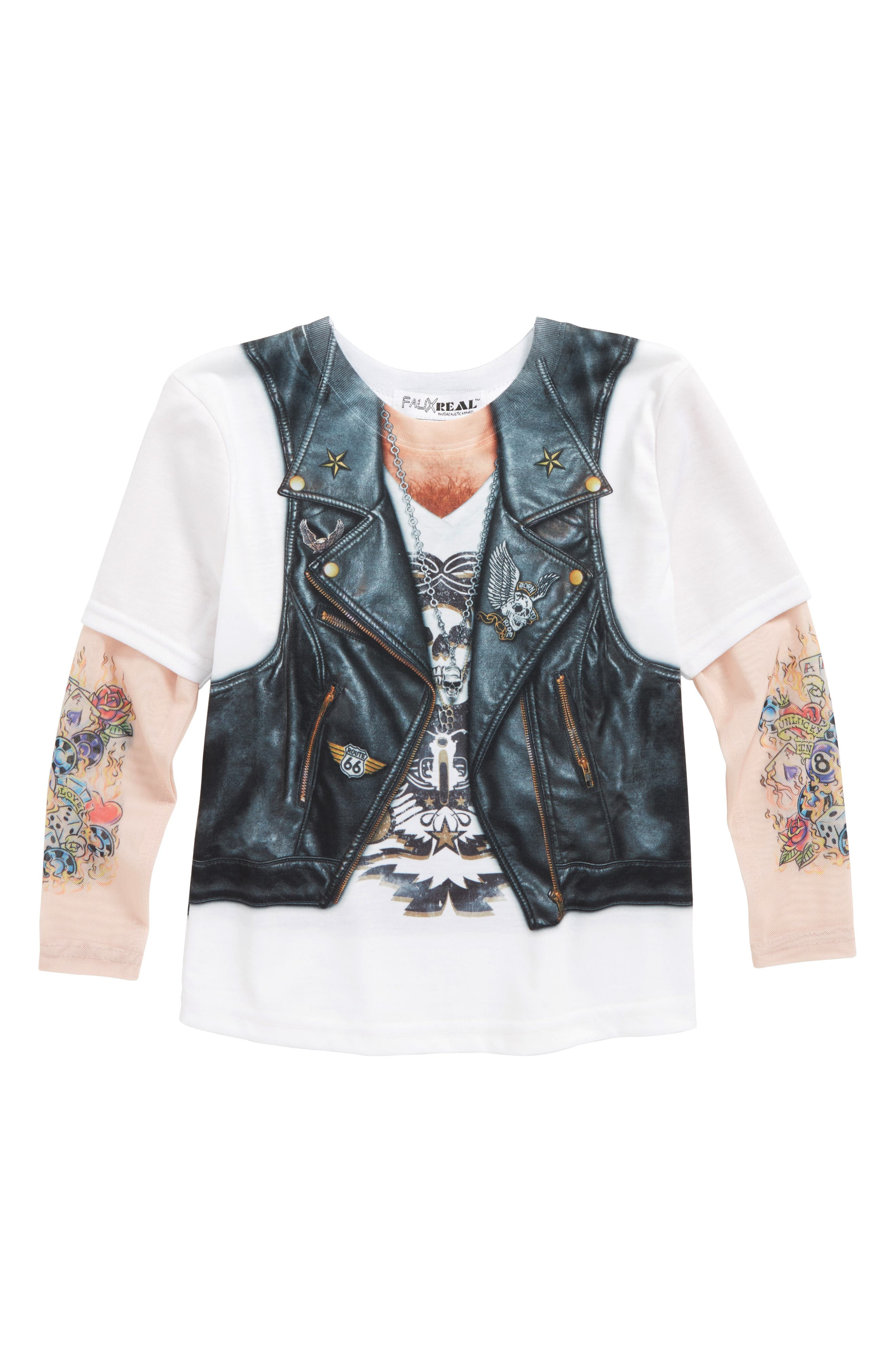 Biker Print T-Shirt with Tattoo Print Sleeves,                         Main,                         color,