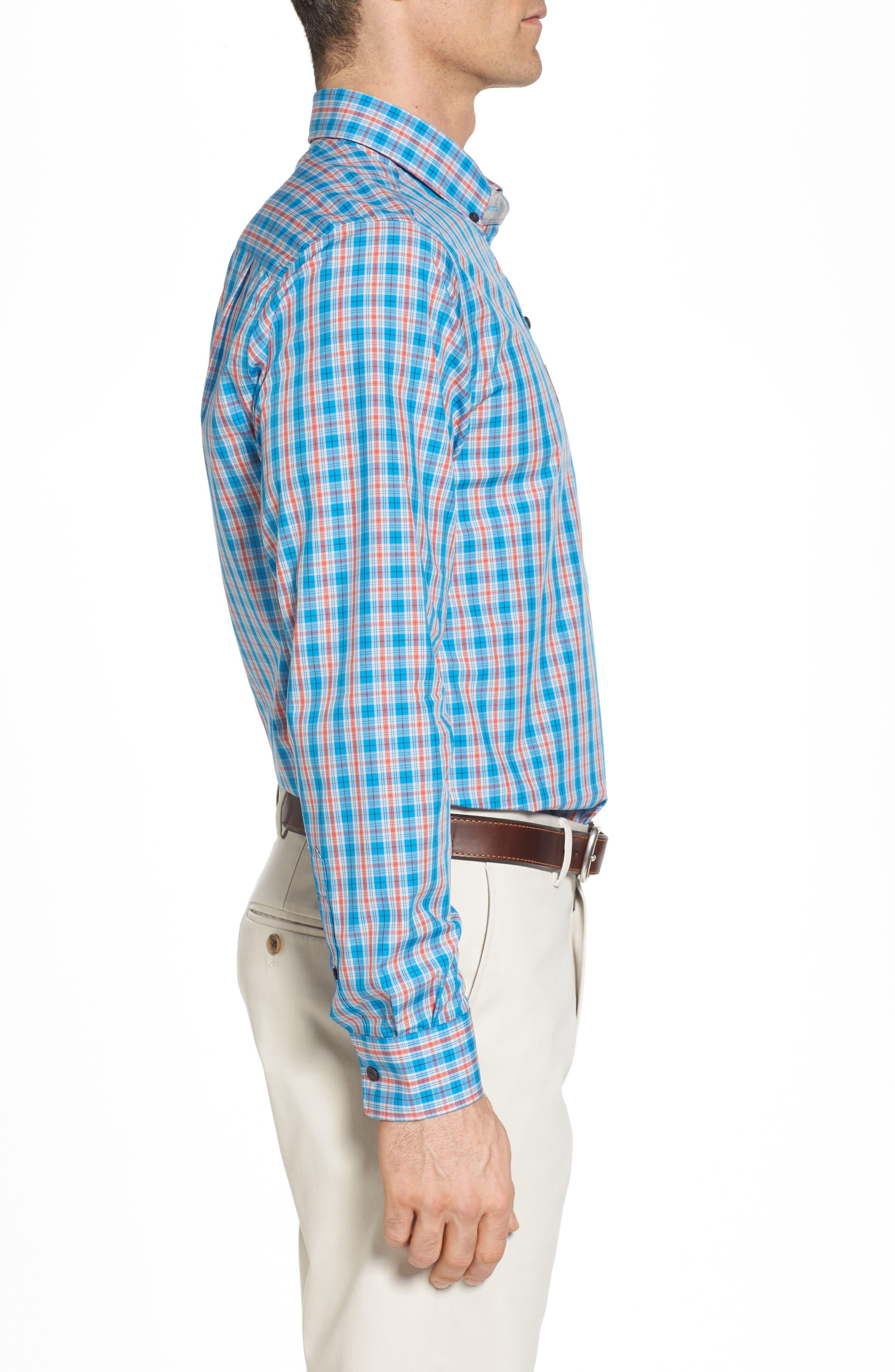 Landon Classic Fit Non-Iron Plaid Sport Shirt,                             Alternate thumbnail 3, color,                             POOLSIDE
