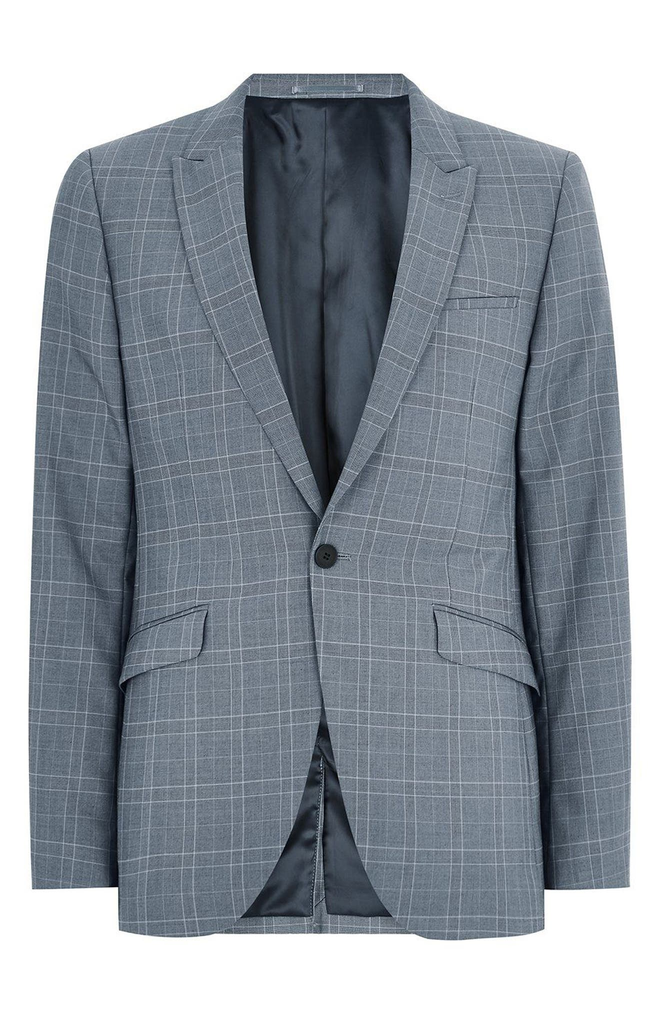 Skinny Fit Check Suit Jacket,                             Alternate thumbnail 4, color,                             400