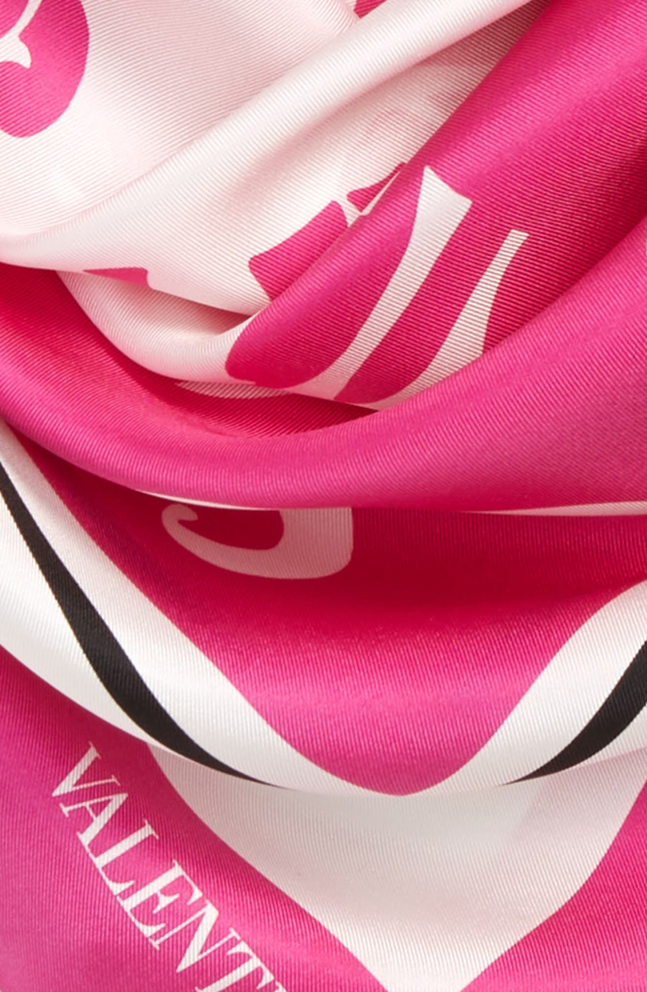 Waves Silk Scarf,                             Alternate thumbnail 3, color,                             PINK