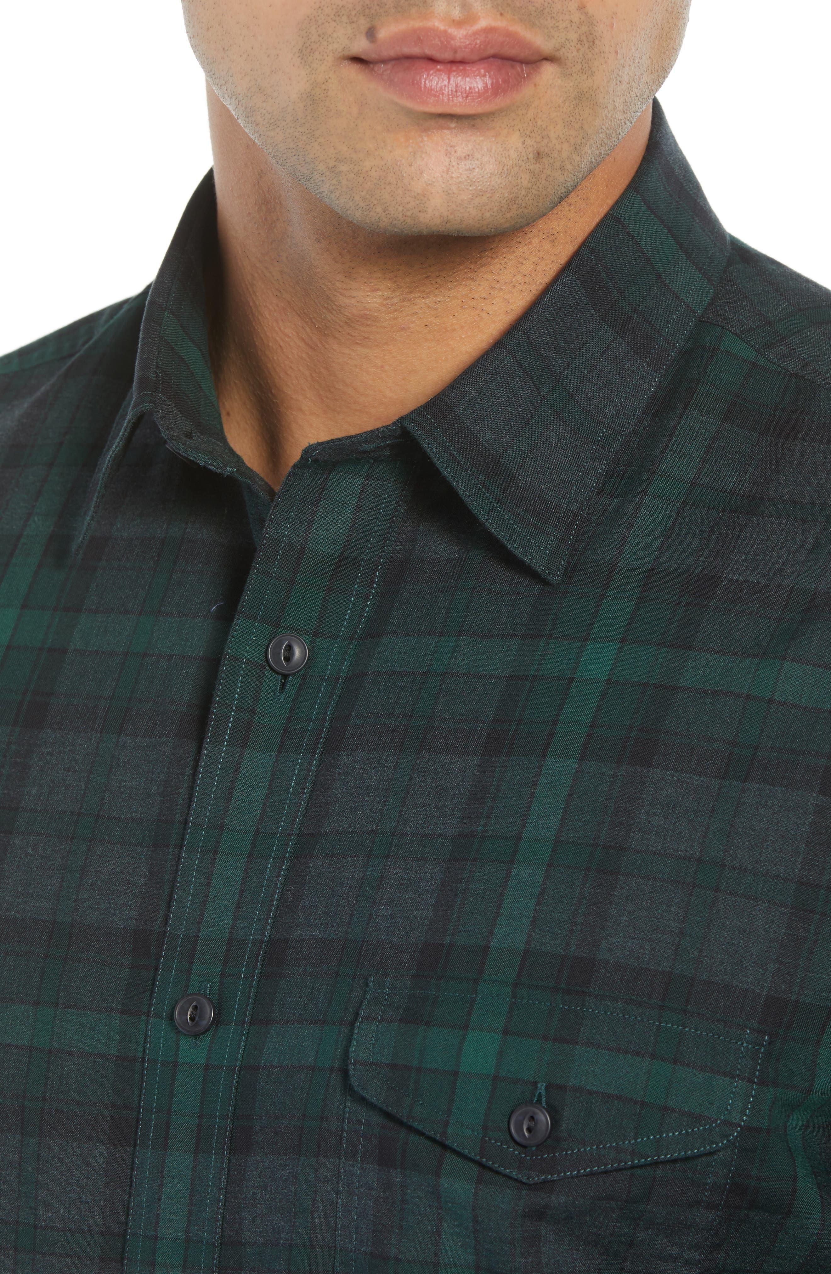 Regular Fit Plaid Flannel Sport Shirt,                             Alternate thumbnail 4, color,                             GREEN FOREST GREY PLAID