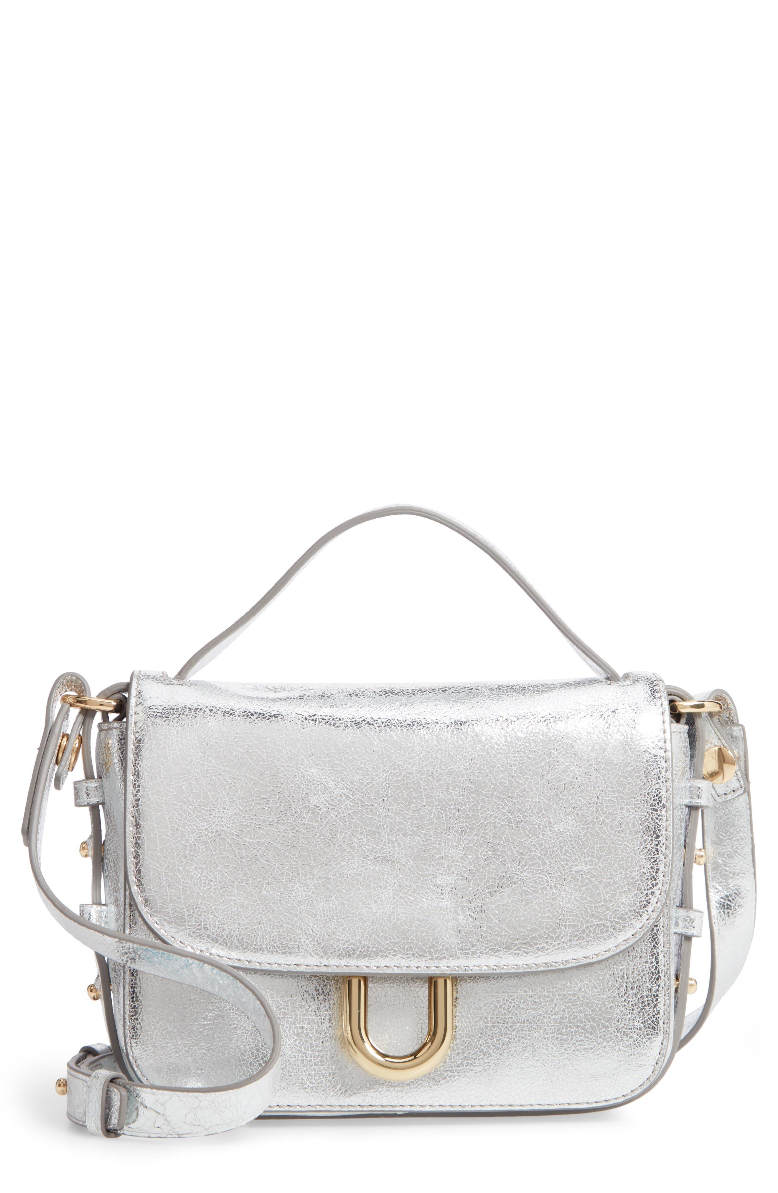 Harper Metallic Leather Crossbody Bag,                             Main thumbnail 1, color,                             METALLIC SILVER