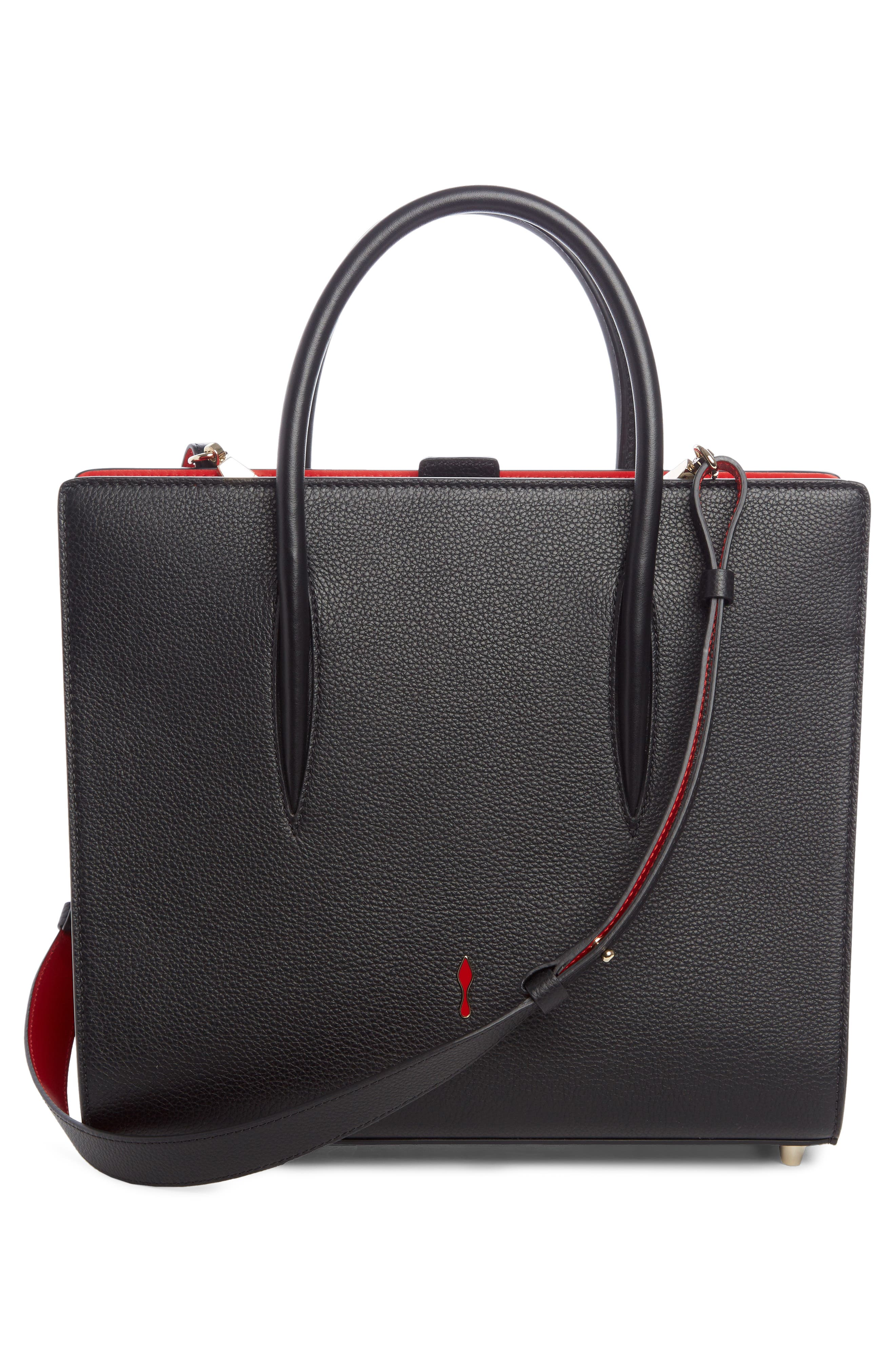 Medium Paloma Leather Tote,                             Alternate thumbnail 3, color,                             BLACK/ RED-GOLD