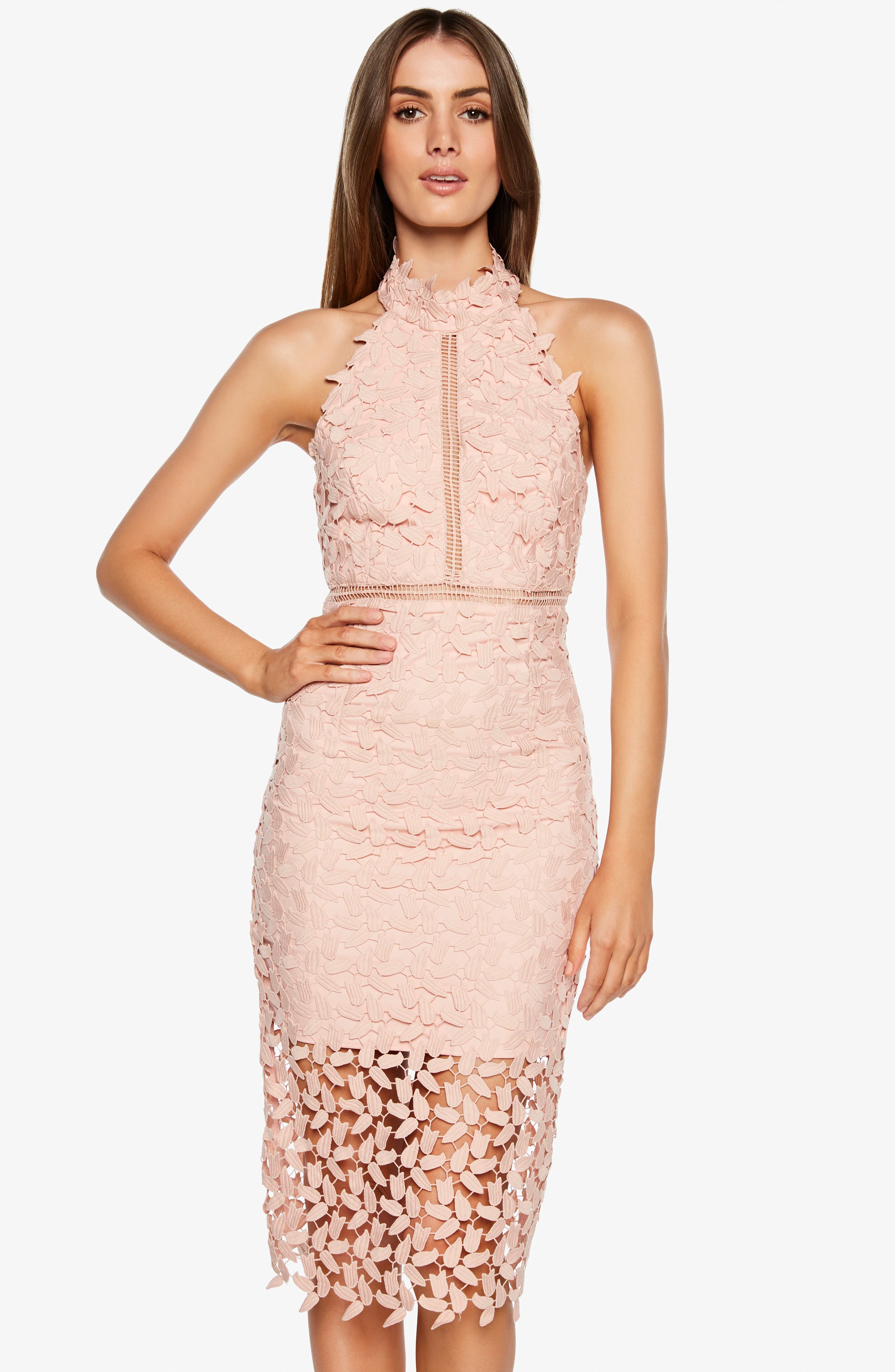 Gemma Halter Lace Sheath Dress,                             Alternate thumbnail 6, color,                             LATTE PINK