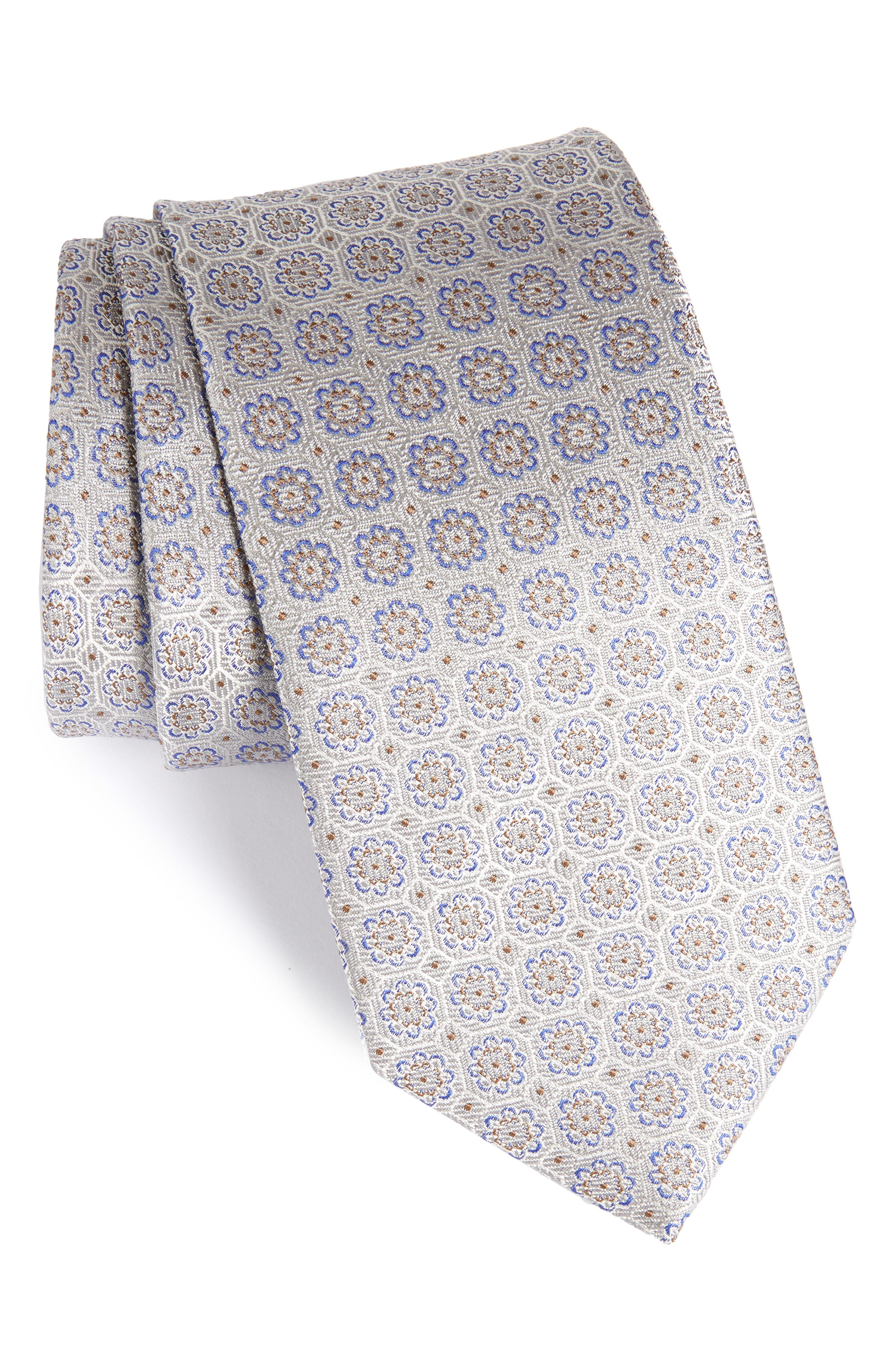 Medallion Silk Tie,                             Main thumbnail 1, color,                             020