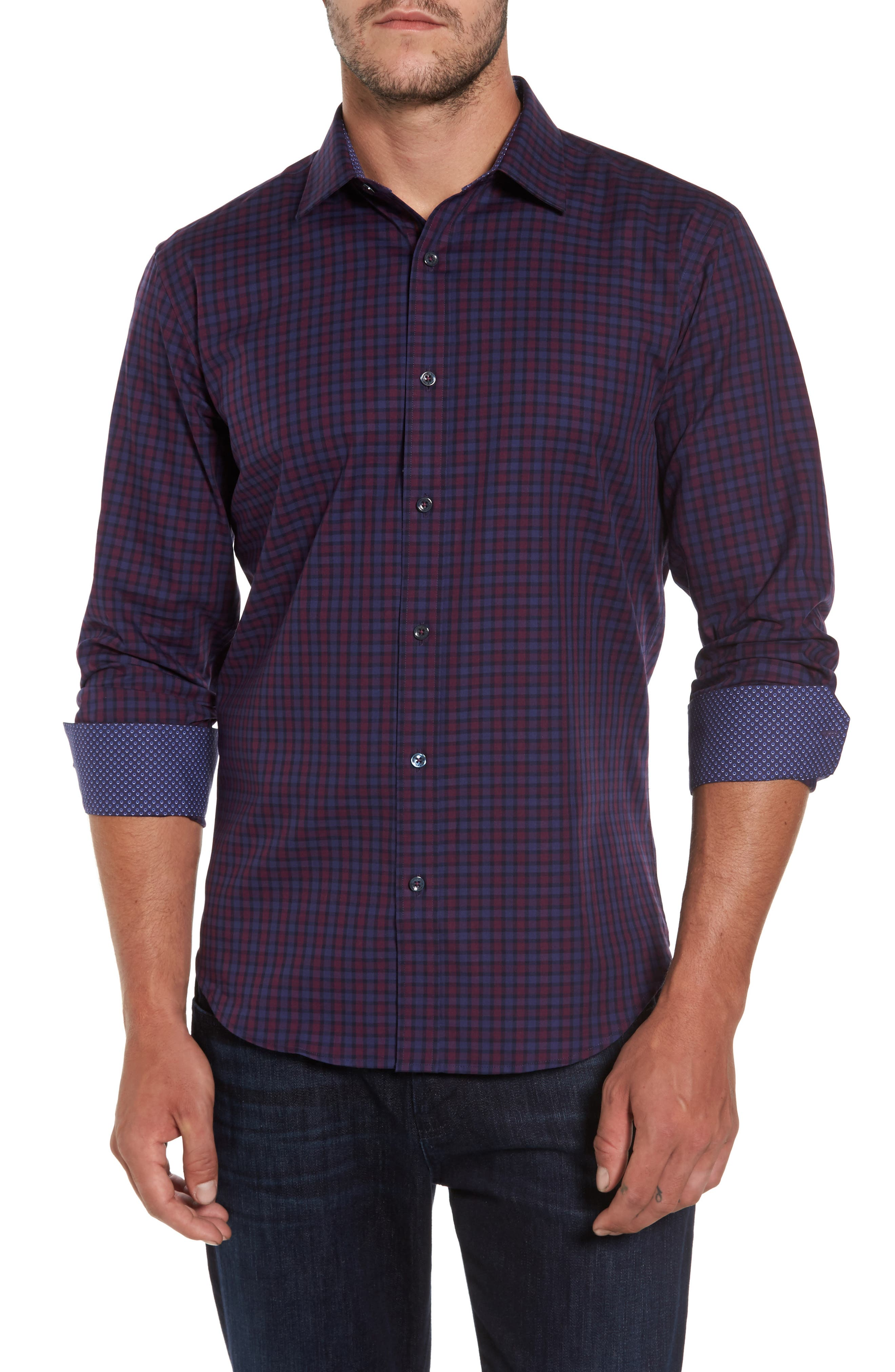 Shaped Fit Plaid Sport Shirt,                             Main thumbnail 1, color,                             503