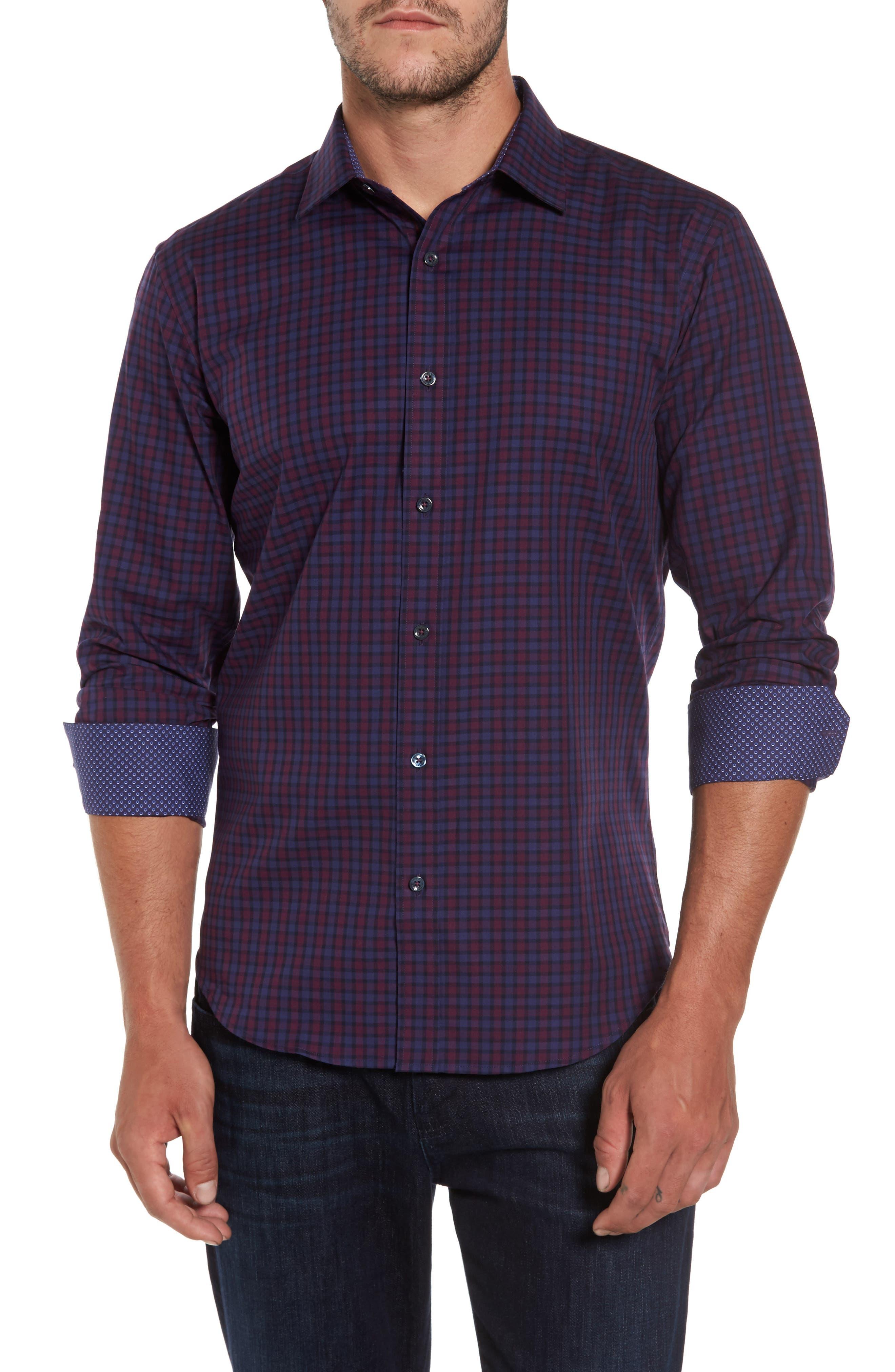 Shaped Fit Plaid Sport Shirt,                         Main,                         color, 503