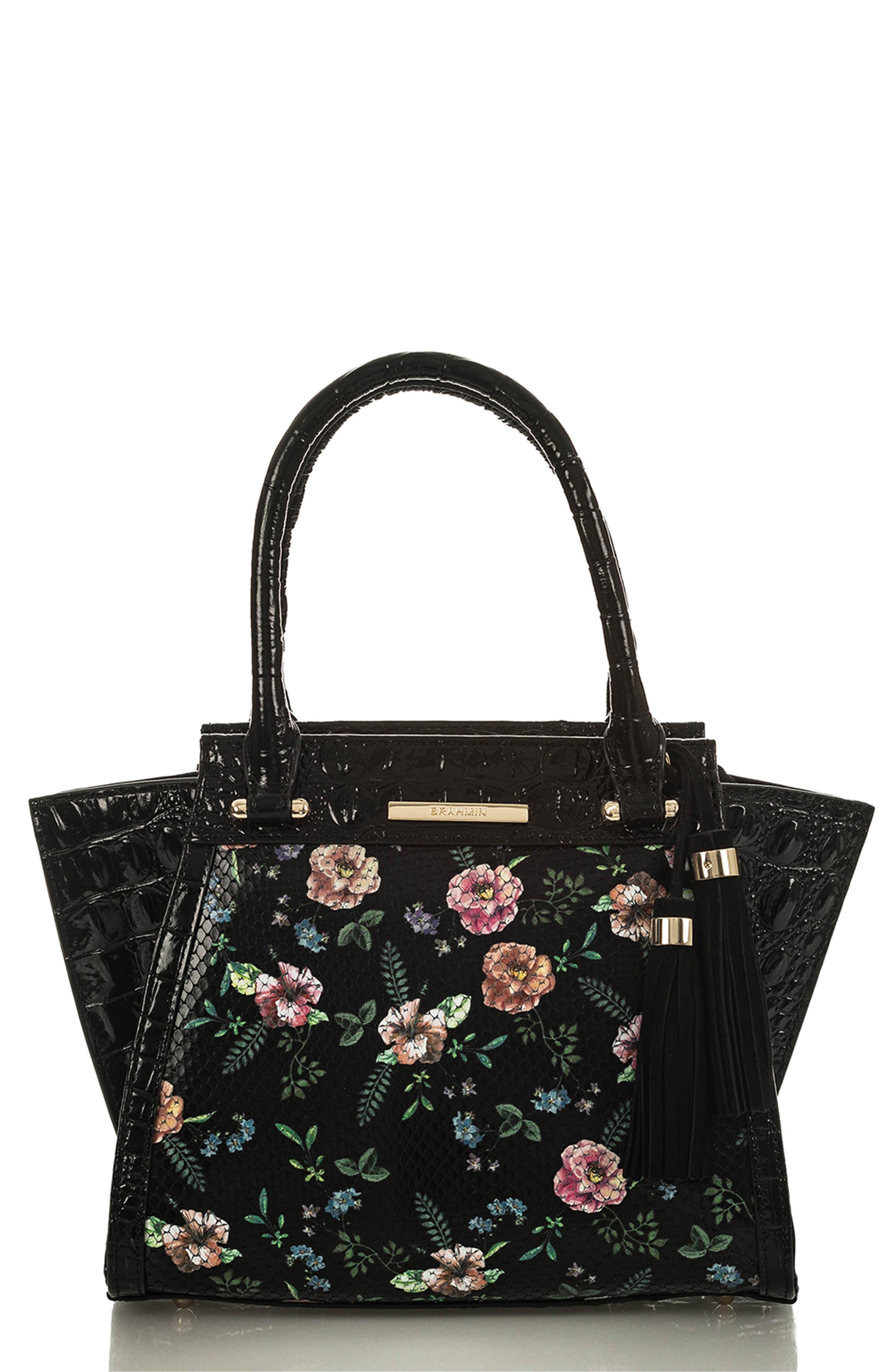 Mini Priscilla Floral Leather Satchel, Main, color, BLACK THAMES