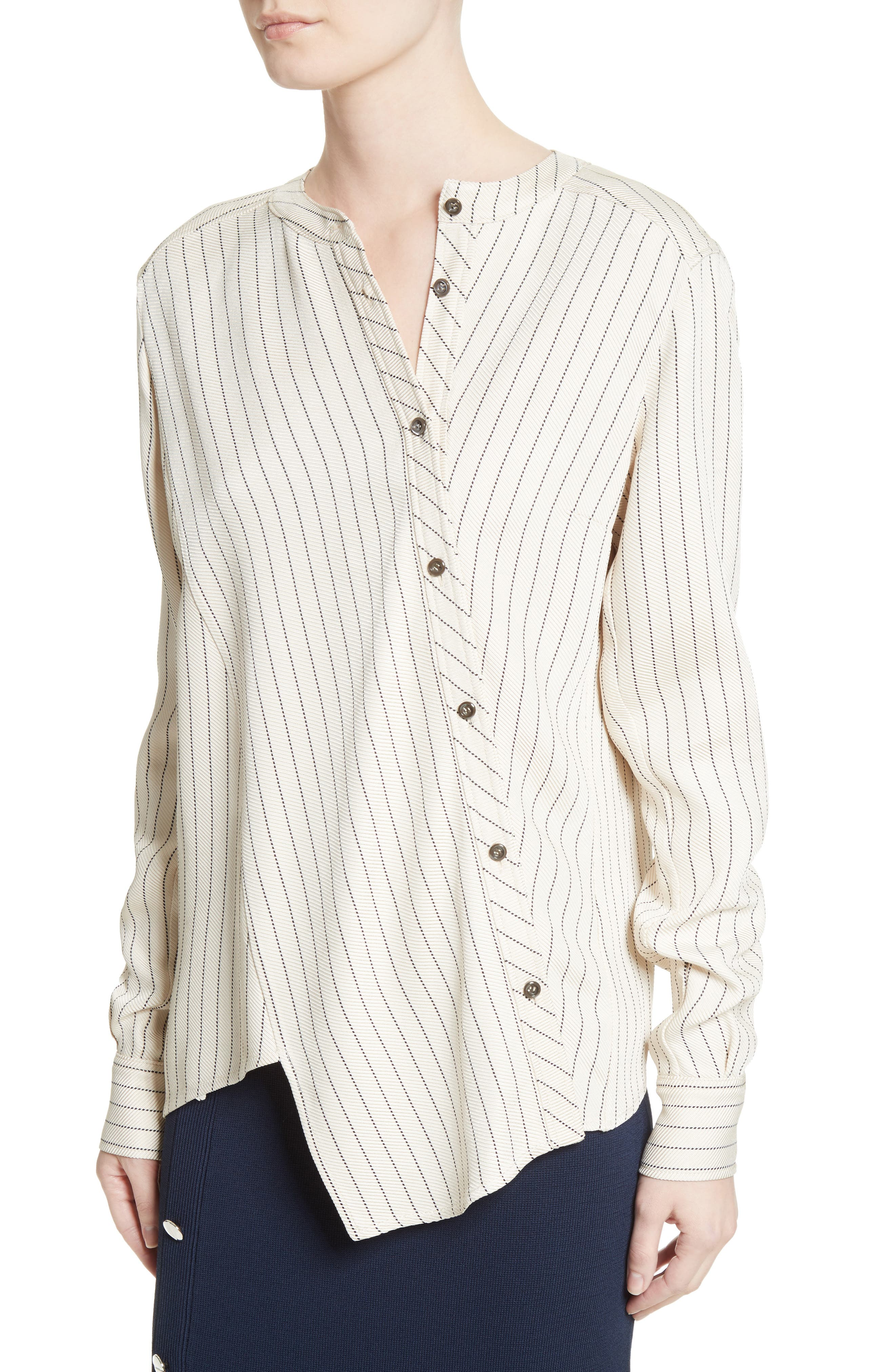 Asymmetrical Pinstripe Blouse,                             Alternate thumbnail 4, color,                             900