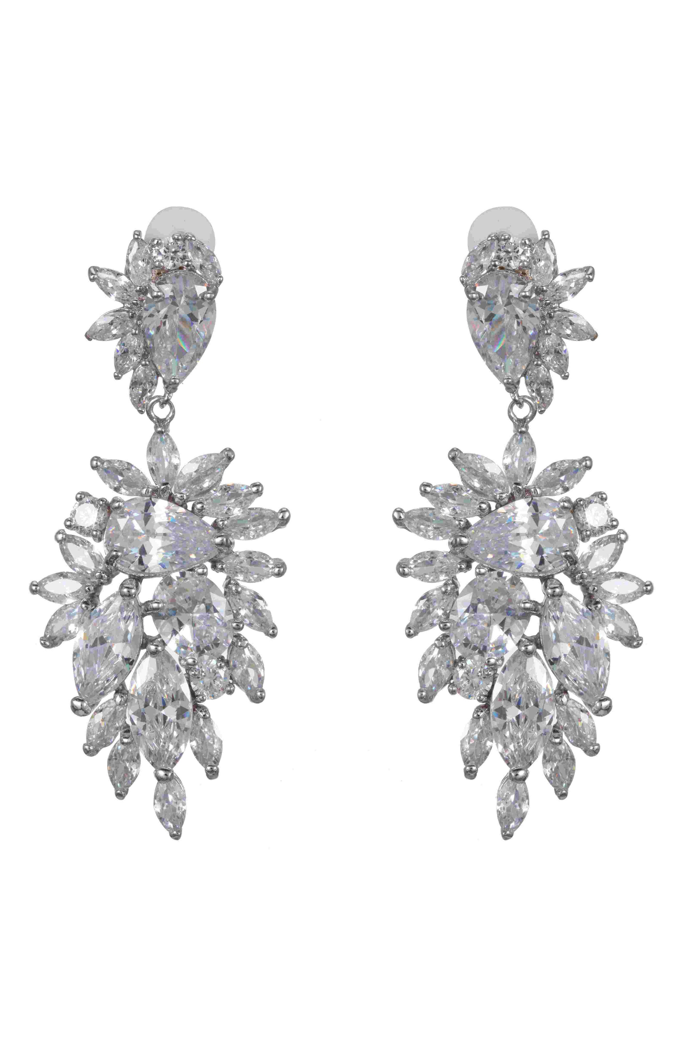 Nina Accessories PAVE CLUSTER CLIP-ON DROP EARRINGS