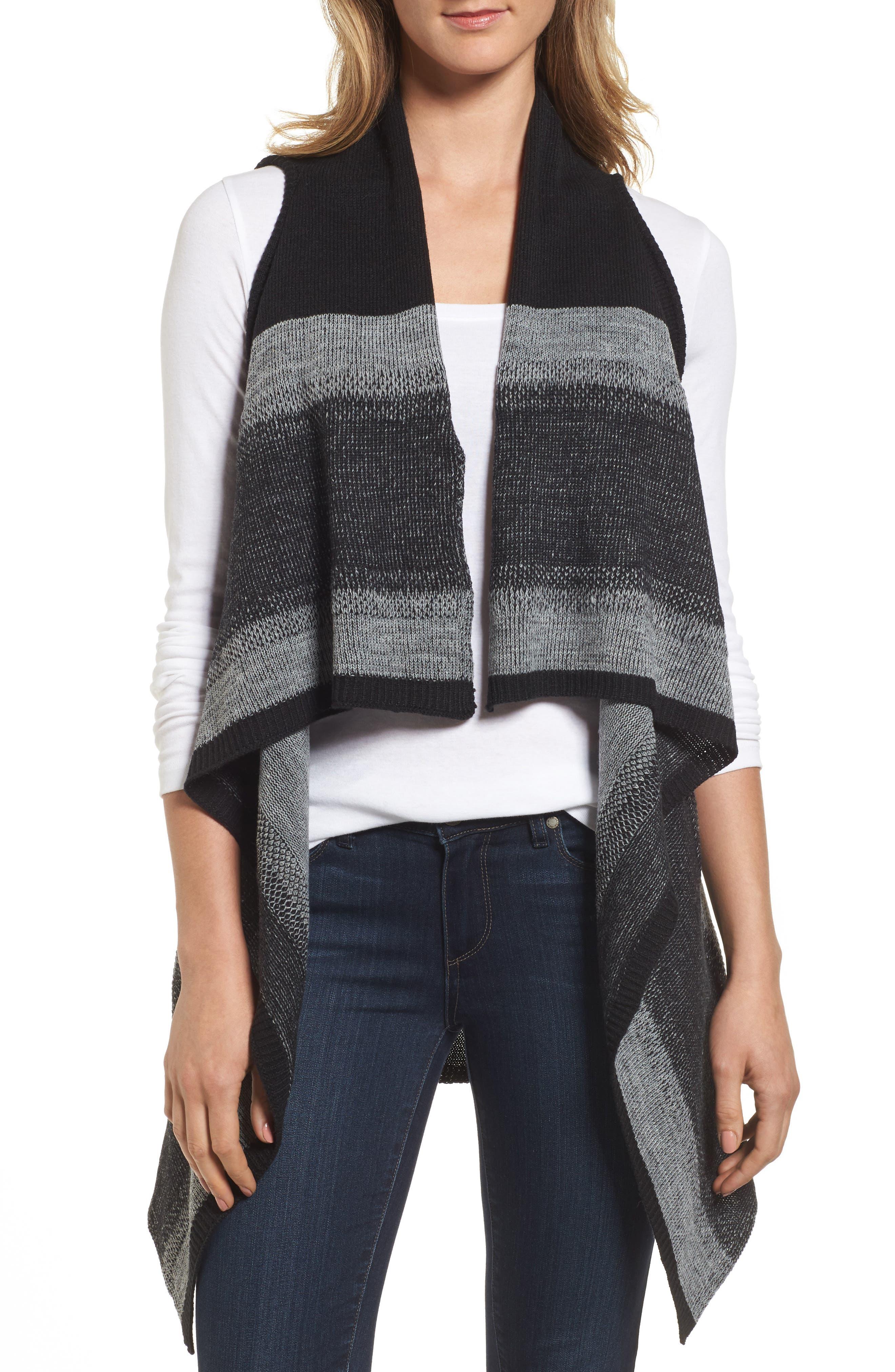 Faded Stripes Knit Vest,                             Main thumbnail 1, color,                             001