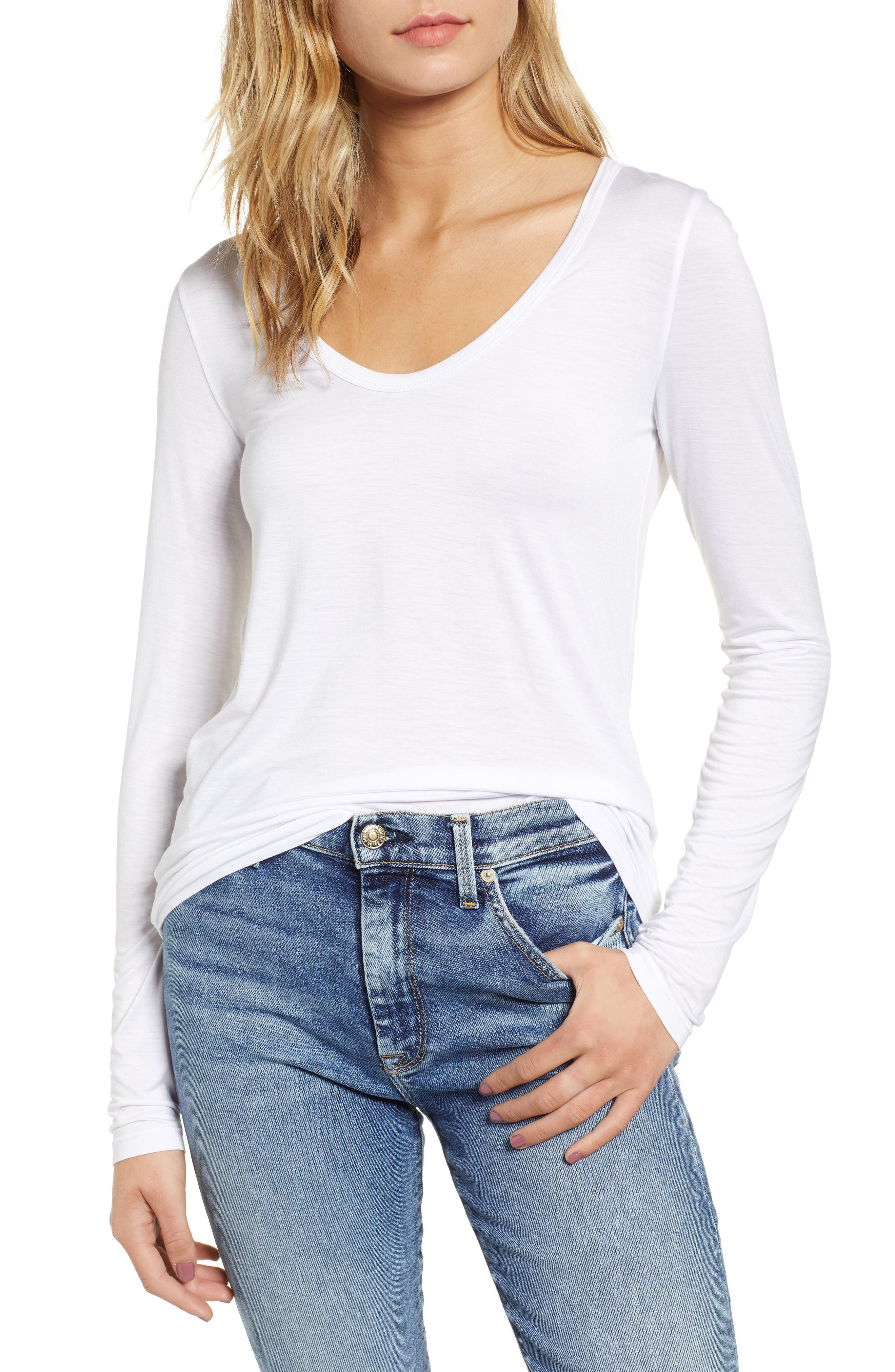 Scoop Neck Jersey Tee,                             Main thumbnail 1, color,                             WHITE