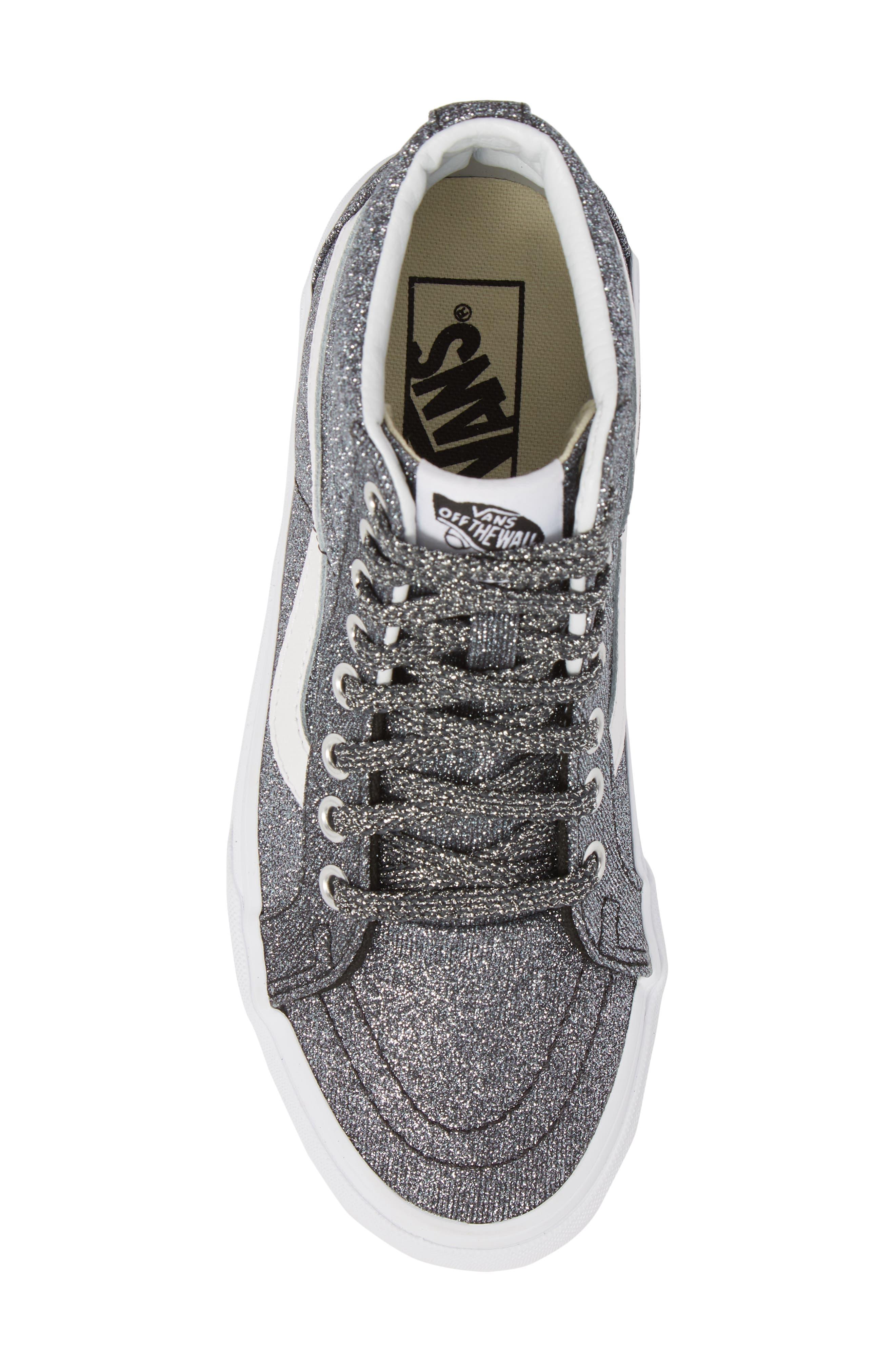 UA Sk8-Hi Reissue Glitter Sneaker,                             Alternate thumbnail 5, color,                             001