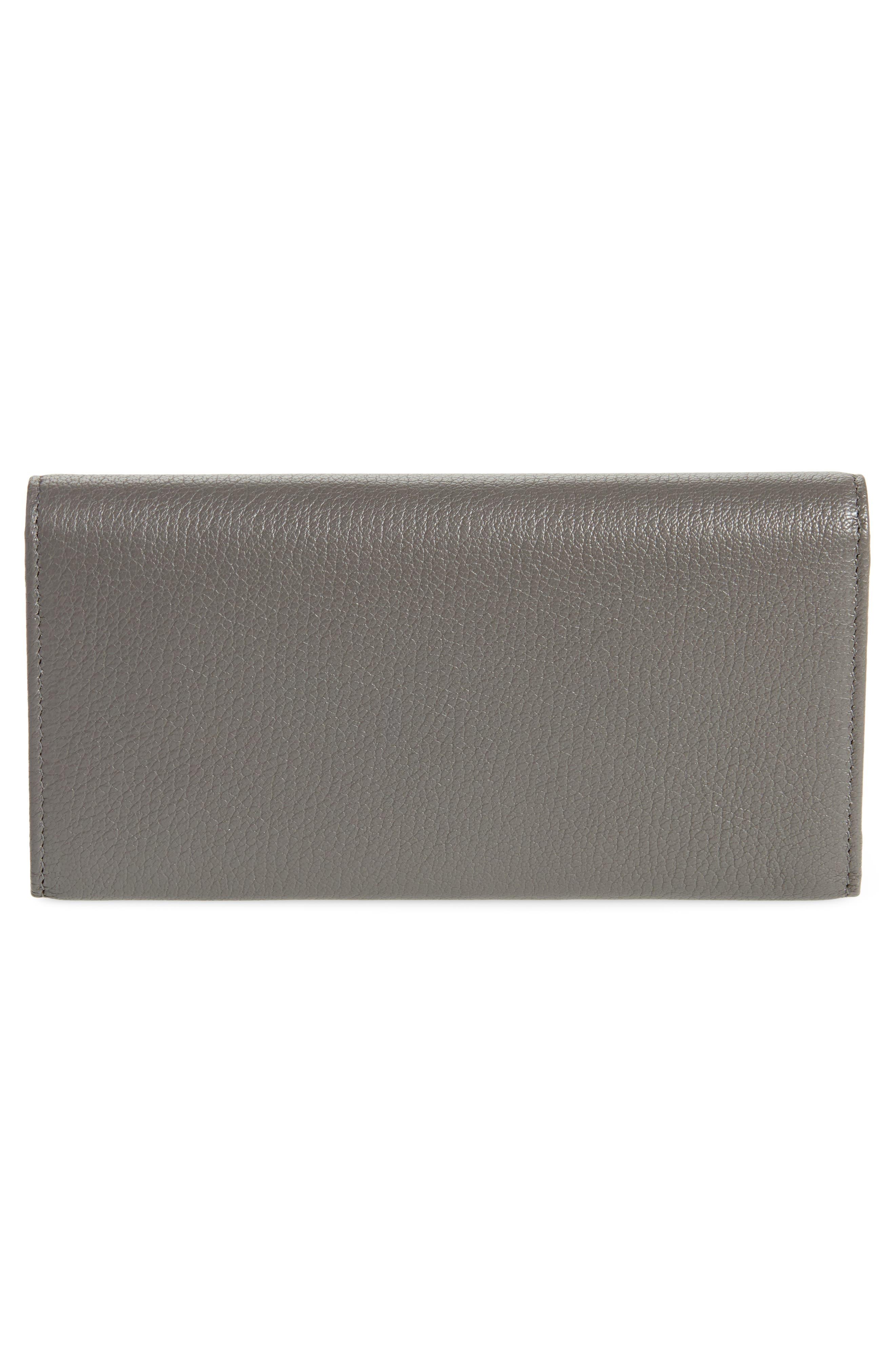 Metallic Edge Money Leather Wallet,                             Alternate thumbnail 3, color,                             GRIS ACIER