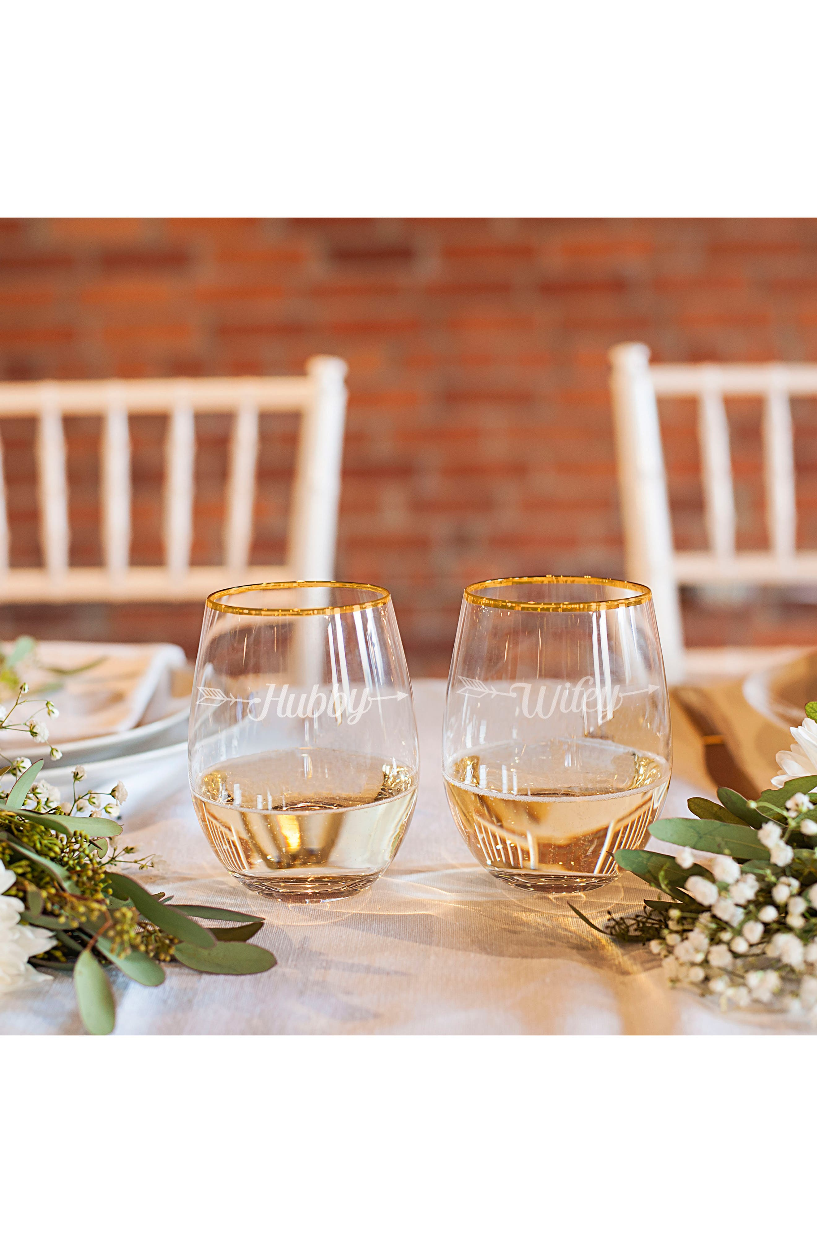 Hubby/Wifey Set of 2 Gold Rimmed Stemless Wine Glasses,                             Alternate thumbnail 4, color,                             710